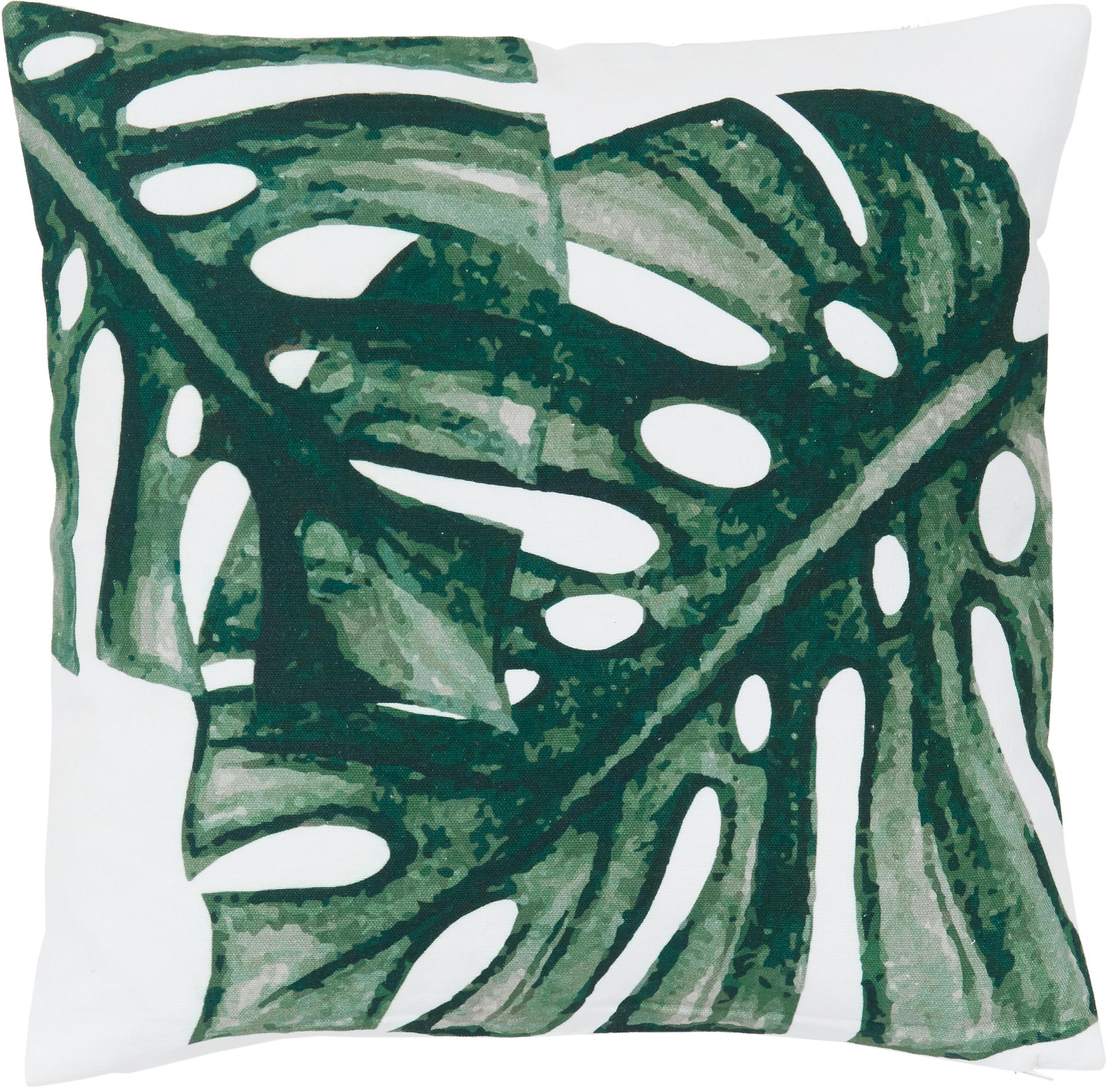 Kissenhülle Tropics mit Monstera Print in Grün/Weiß, 100% Baumwolle, Grün, Weiß, 40 x 40 cm
