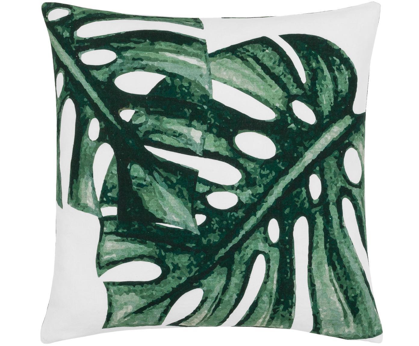 Kissenhülle Tropics mit Monstera Print in Grün/Weiss, 100% Baumwolle, Grün, Weiss, 40 x 40 cm