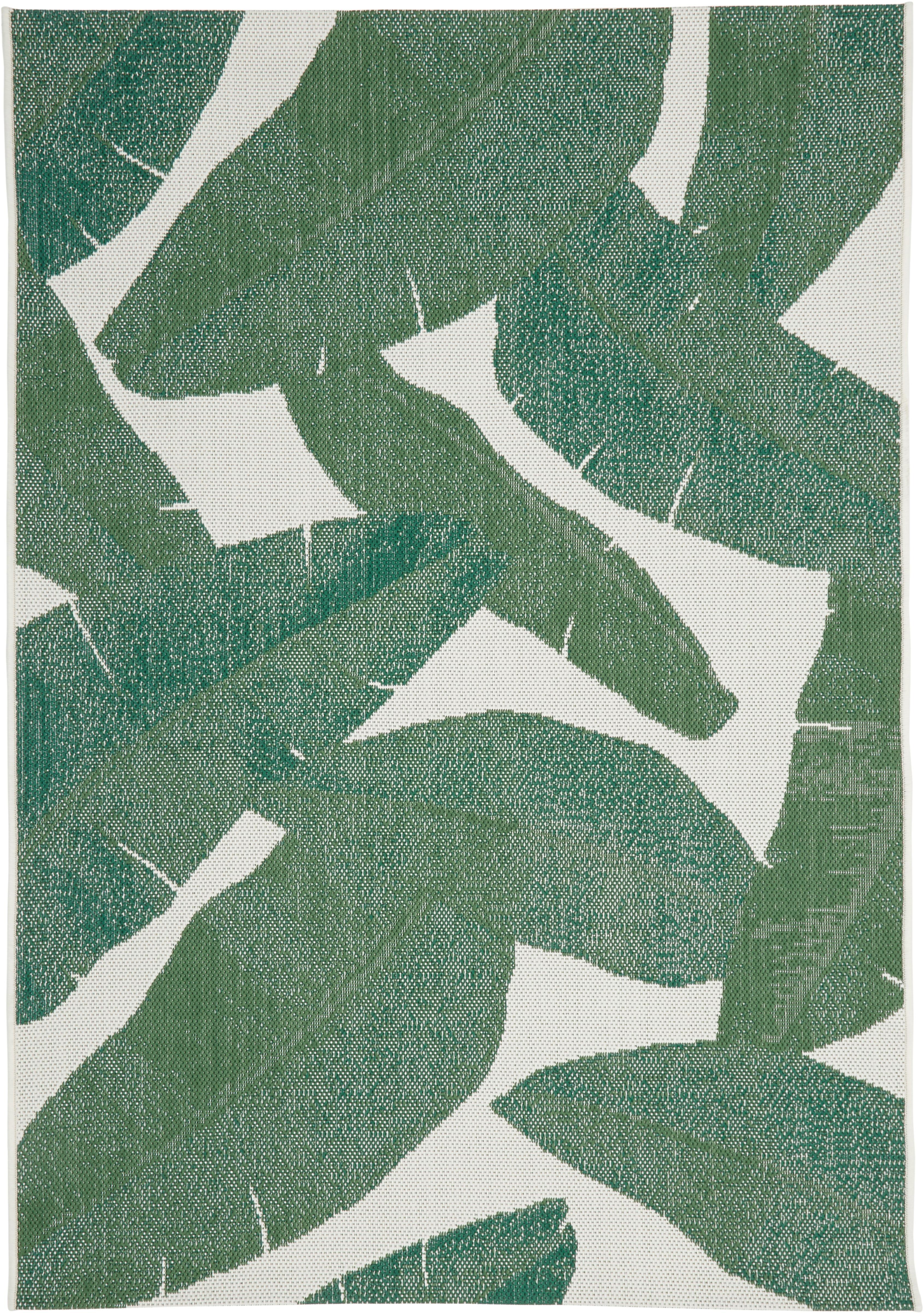 Tappeto da interno-esterno Jungle, Retro: poliestere, Bianco crema, verde, Larg. 120 x Lung. 170 cm (taglia s)