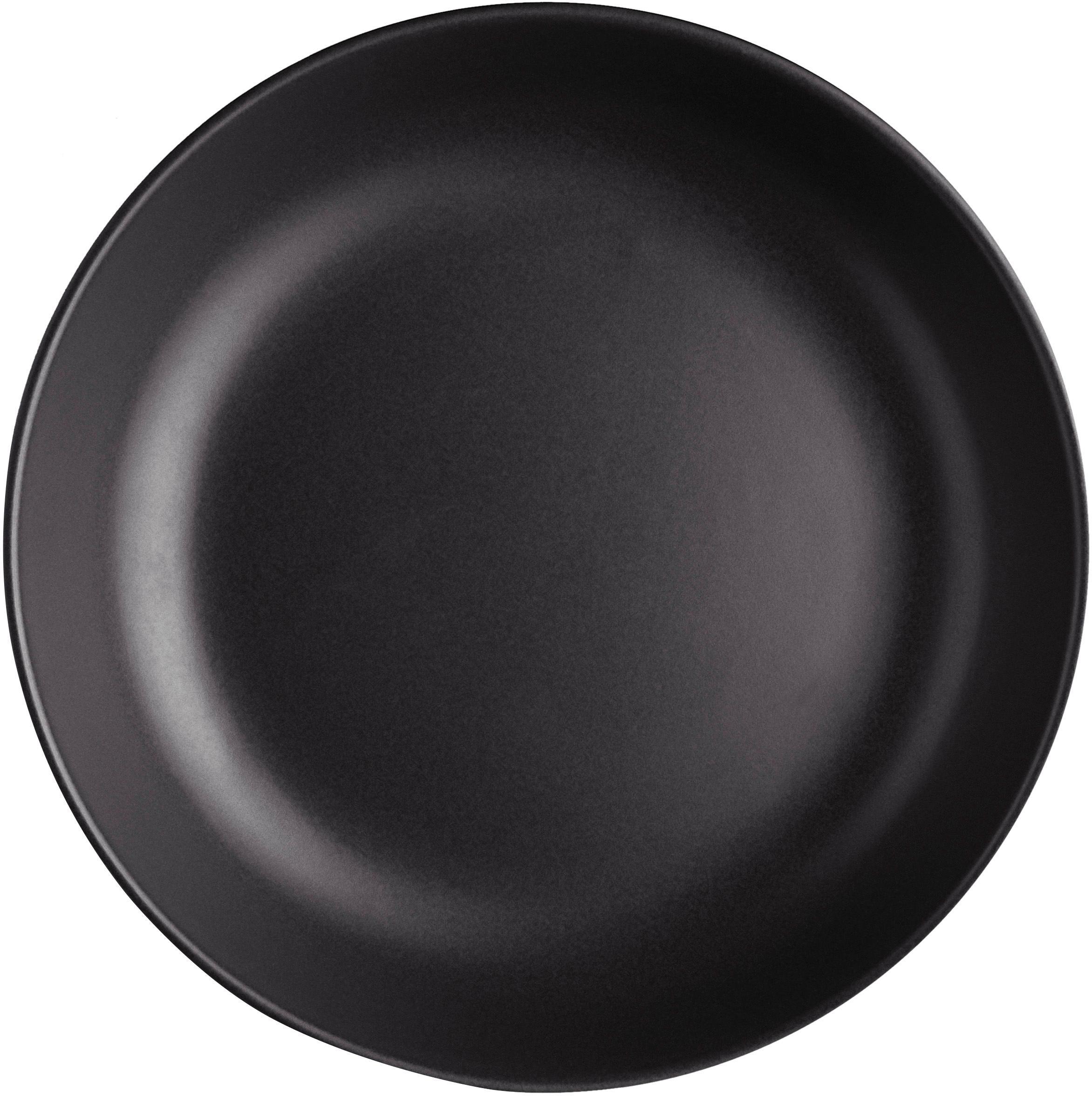 Piatto fondo nero opaco Nordic Kitchen 4 pz, Terracotta, Nero opaco, Ø 20 cm