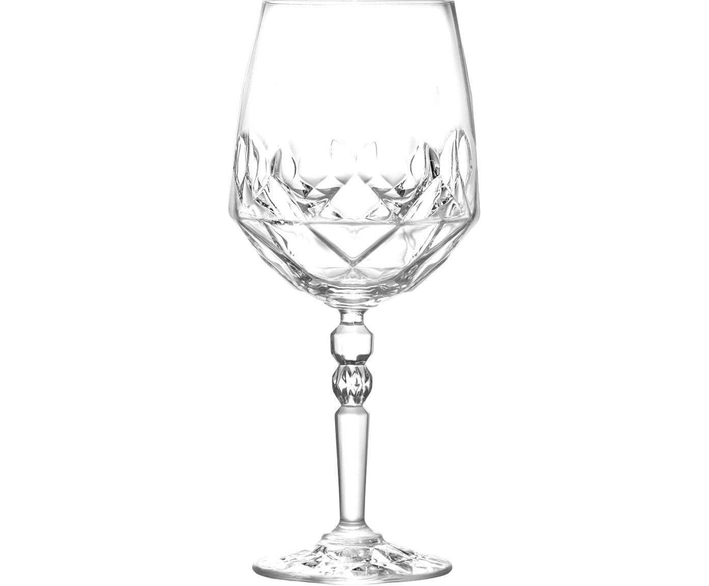 Kristall-Weißweingläser Calicia mit Relief, 6er-Set, Luxion-Kristallglas, Transparent, Ø 10 x H 24 cm