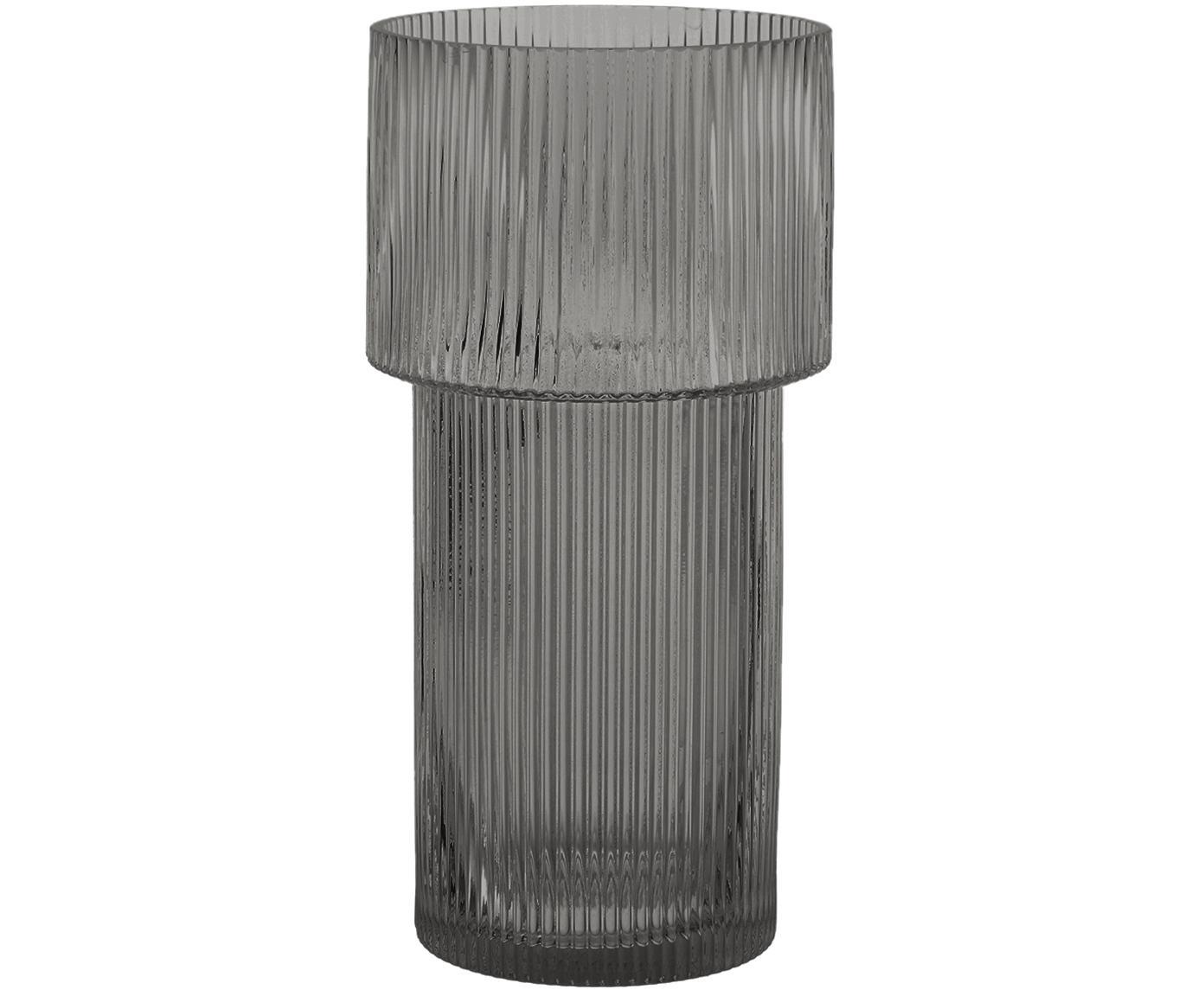 Glas-Vase Lija, Glas, Grau, transparent, ∅ 14 x H 30 cm