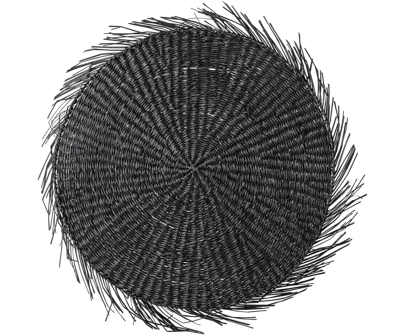 Rundes Seegras-Tischset Whirl, Seegras, Schwarz, Ø 38 cm