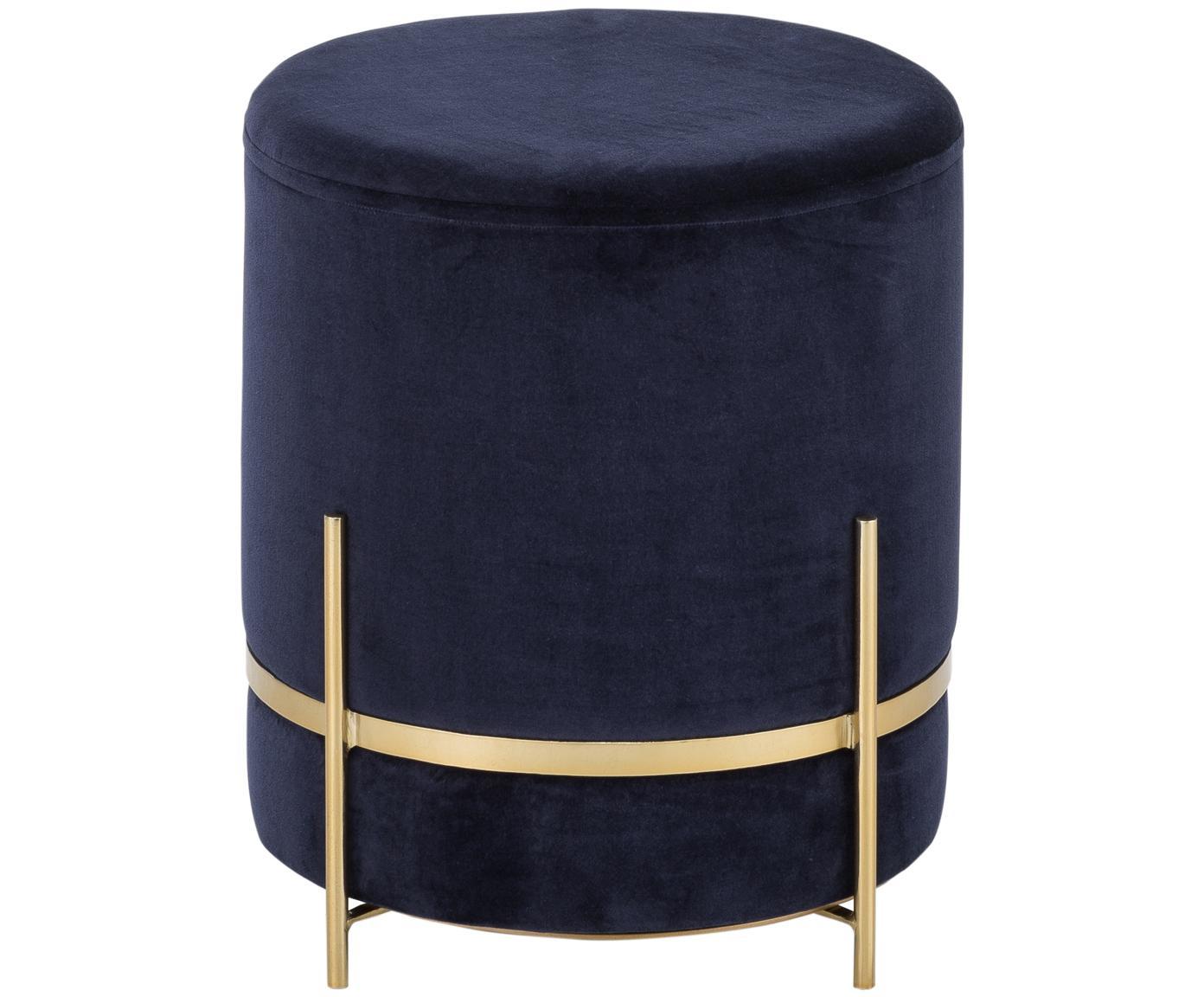 Pouf in velluto Haven, Rivestimento: velluto di cotone, Blu marino, dorato, Ø 38 x A 45 cm