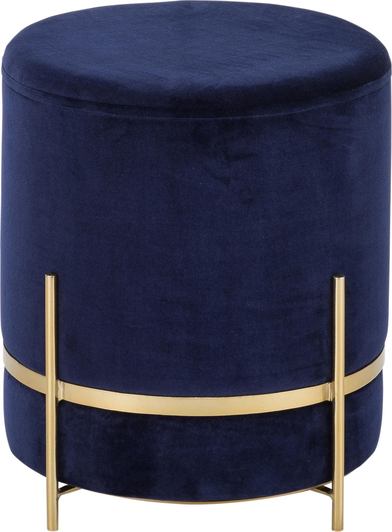 Puf z aksamitu Haven, Tapicerka: aksamit bawełniany, Marynarski granat, odcienie złotego, Ø 38 x W 45 cm