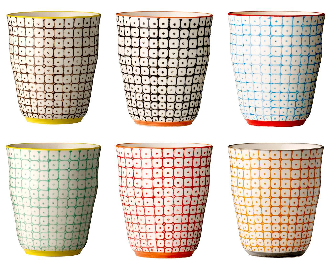 Becher Carla mit kleinem Muster, 6er-Set, Steingut, Mehrfarbig, Beige, Ø 9 x H 10 cm