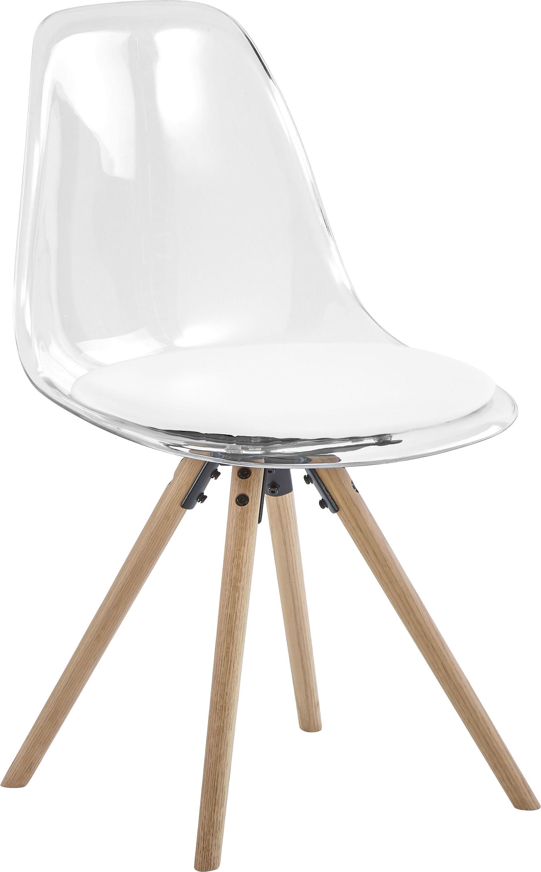 Kunststoff-Stühle Henning, 2 Stück, Sitzschale: Kunststoff, Beine: Eichenholz, geölt, Weiss, Transparent, Eichenholz, B 47 x T 53 cm