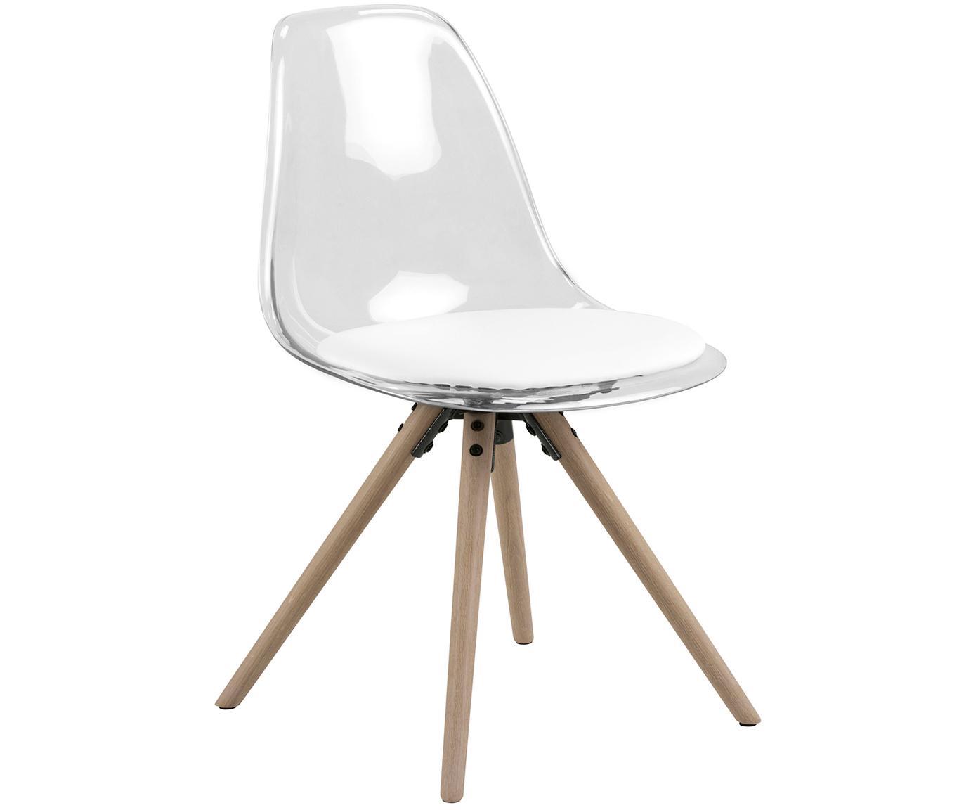 Kunststof stoelen Henning, 2 stuks, Zitvlak: kunststof, Bekleding: kunstleer, Poten: geolied eikenhout, Wit, transparant, eikenhoutkleurig, B 47 x D 53 cm