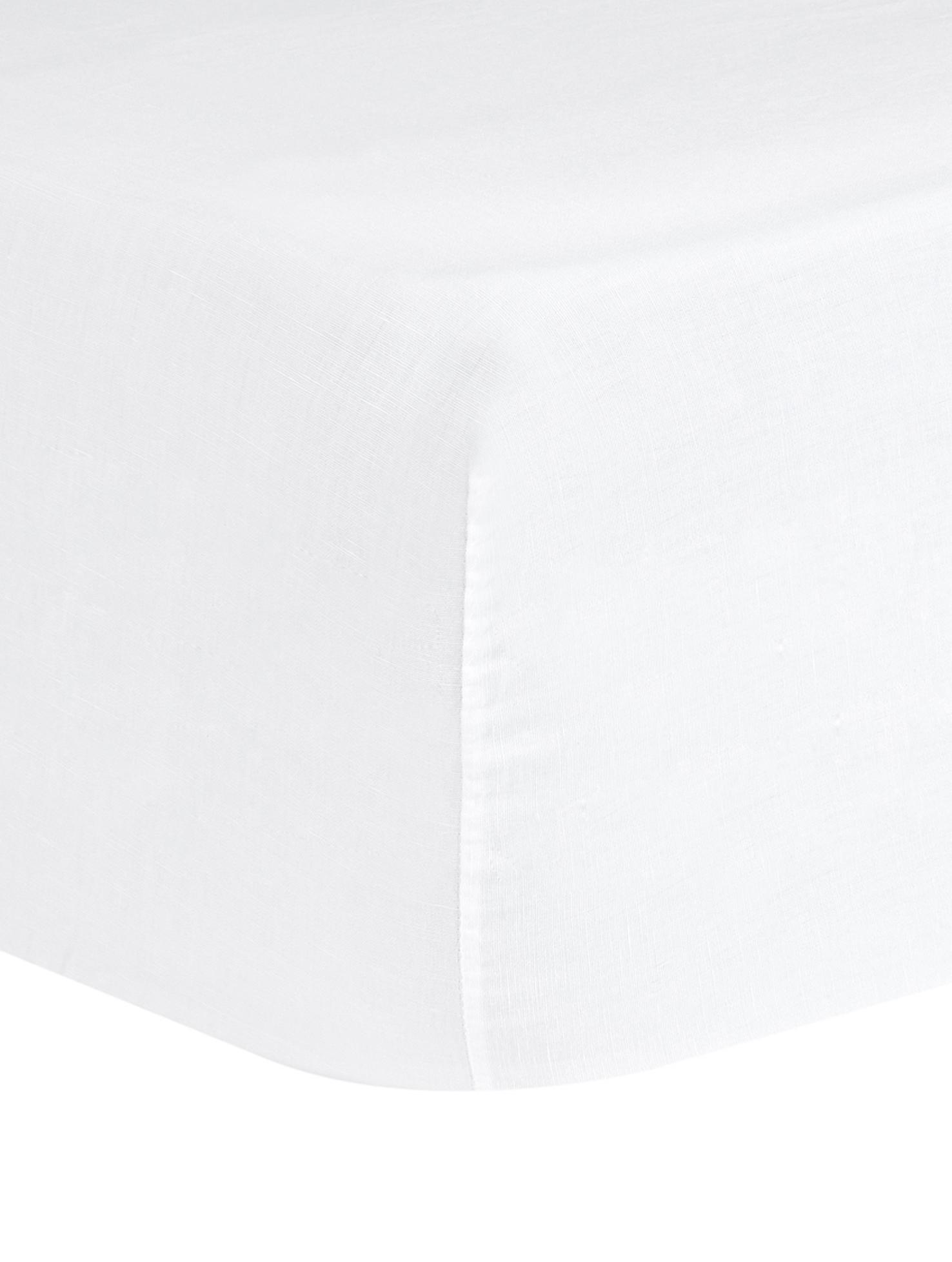 Spannbettlaken Nature, Leinen, 52% Leinen, 48% Baumwolle Mit Stonewash-Effekt für einen weichen Griff, Weiß, 160 x 200 cm