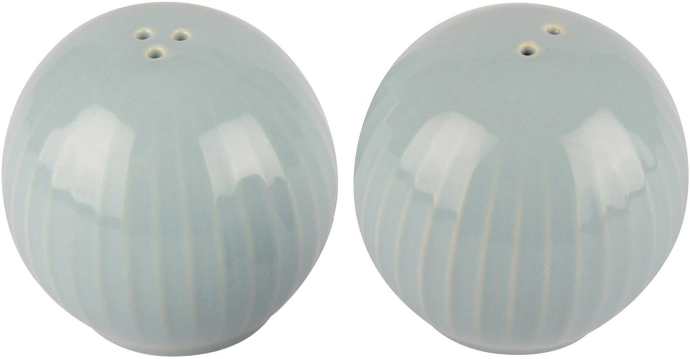 Set salero y pimentero Eggy, 2pzas., Cerámica, gres, Azul, Ø 6 x Al 6 cm
