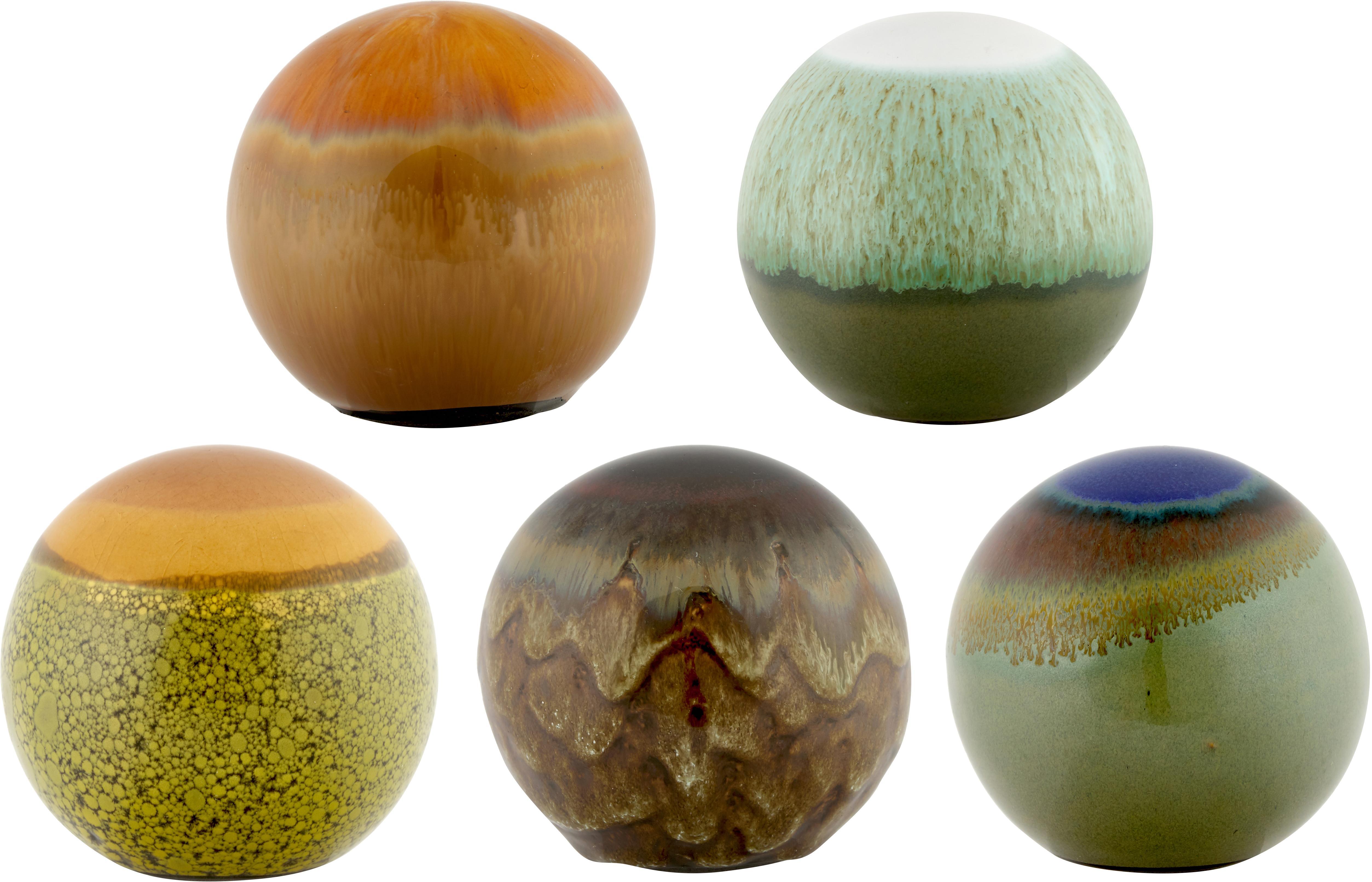Set de esferas decorativas Energy, 5pzas., Gres, Multicolor, Ø 8 cm