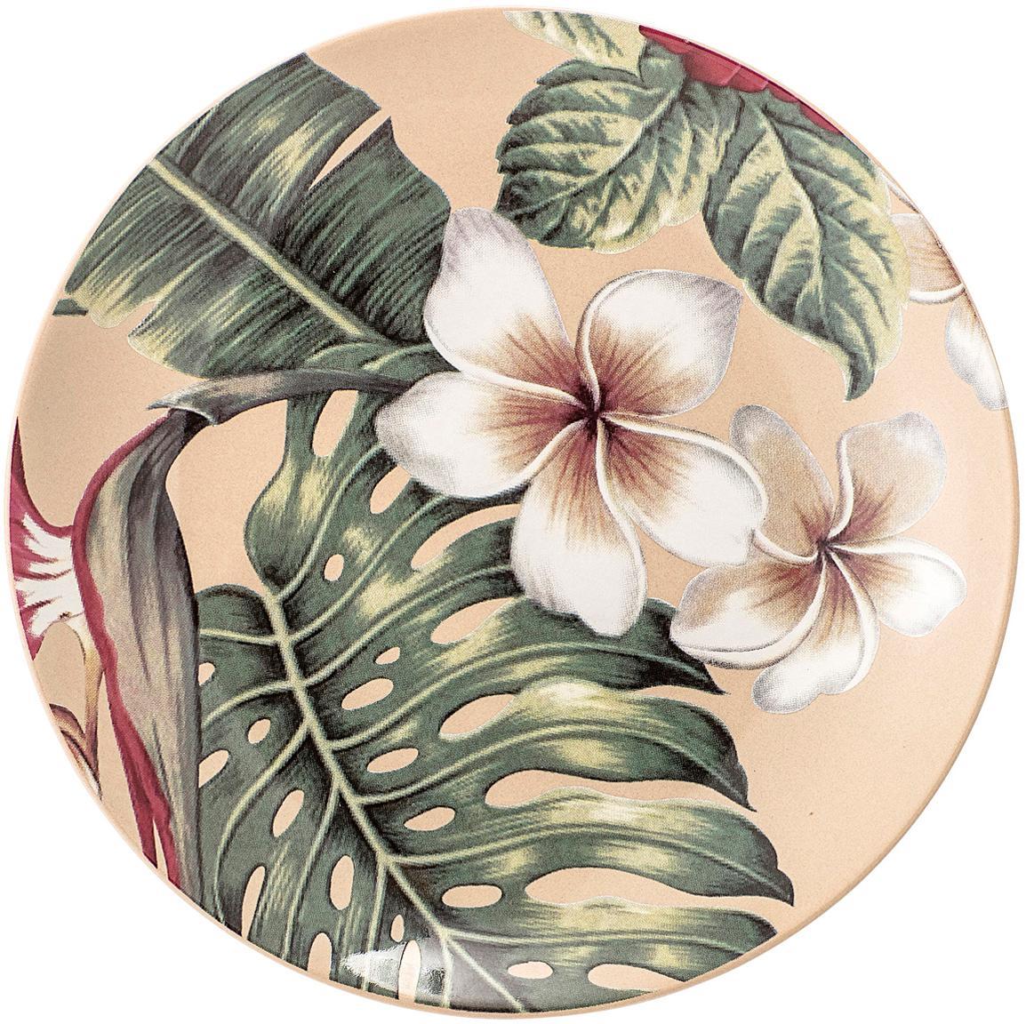 Platos postre Aruba, 2uds., Gres, Blanco crema, verde, rojo, Ø 20 cm