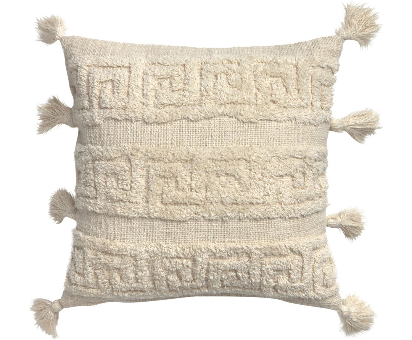 Boho kussenhoes Hera met hoog-laag patroon en kwastjes, 100% katoen, Crèmekleurig, 45 x 45 cm