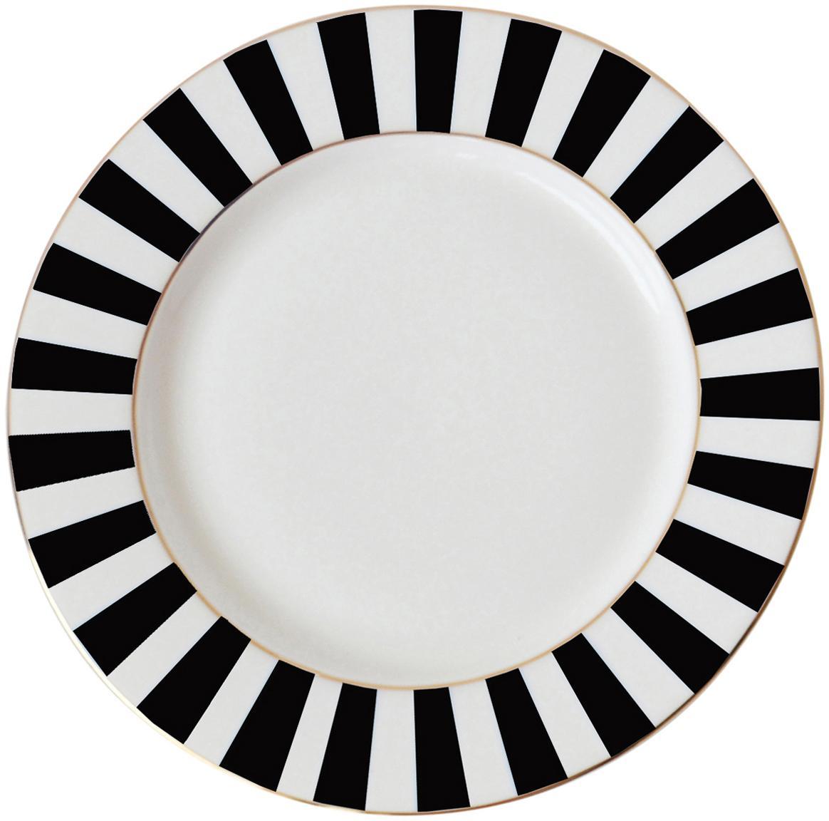 Ontbijtbord Stripy, Beenderporselein, Zwart, wit, Ø 19 cm