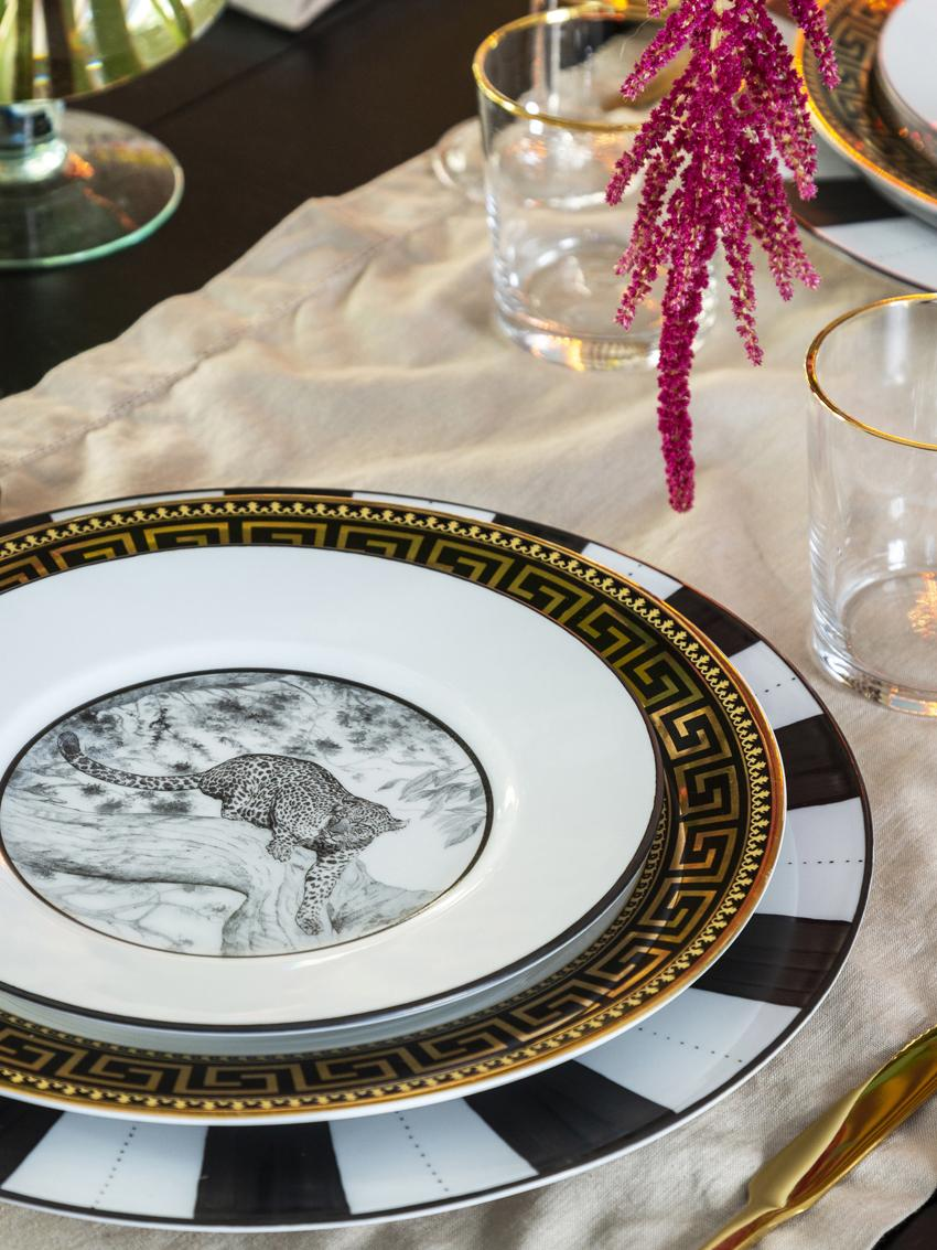 Assiette à dessert Stripy, Noir, blanc