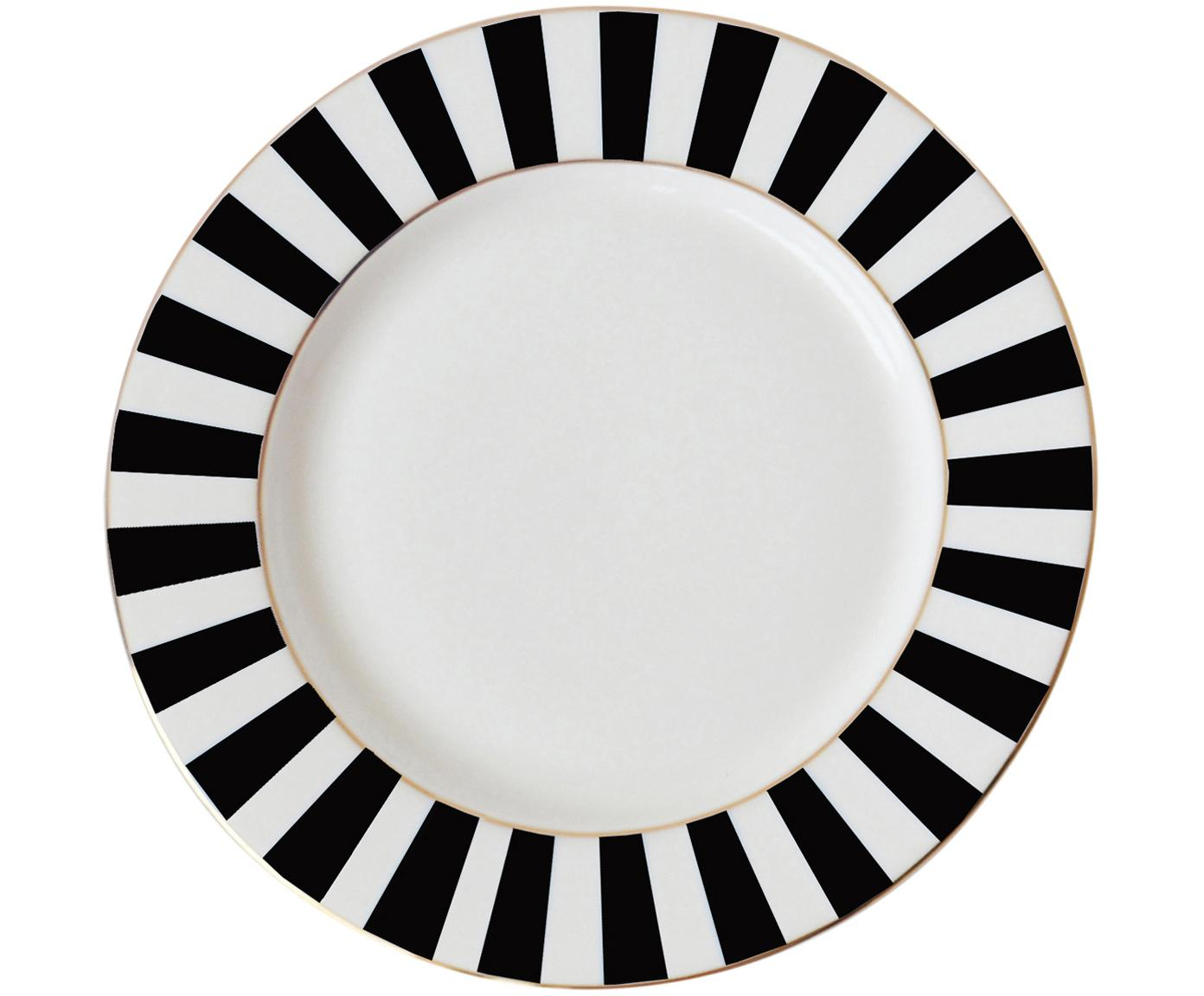 Piatto colazione Stripy, Porcellana cinese, Nero, bianco, Ø 19 cm