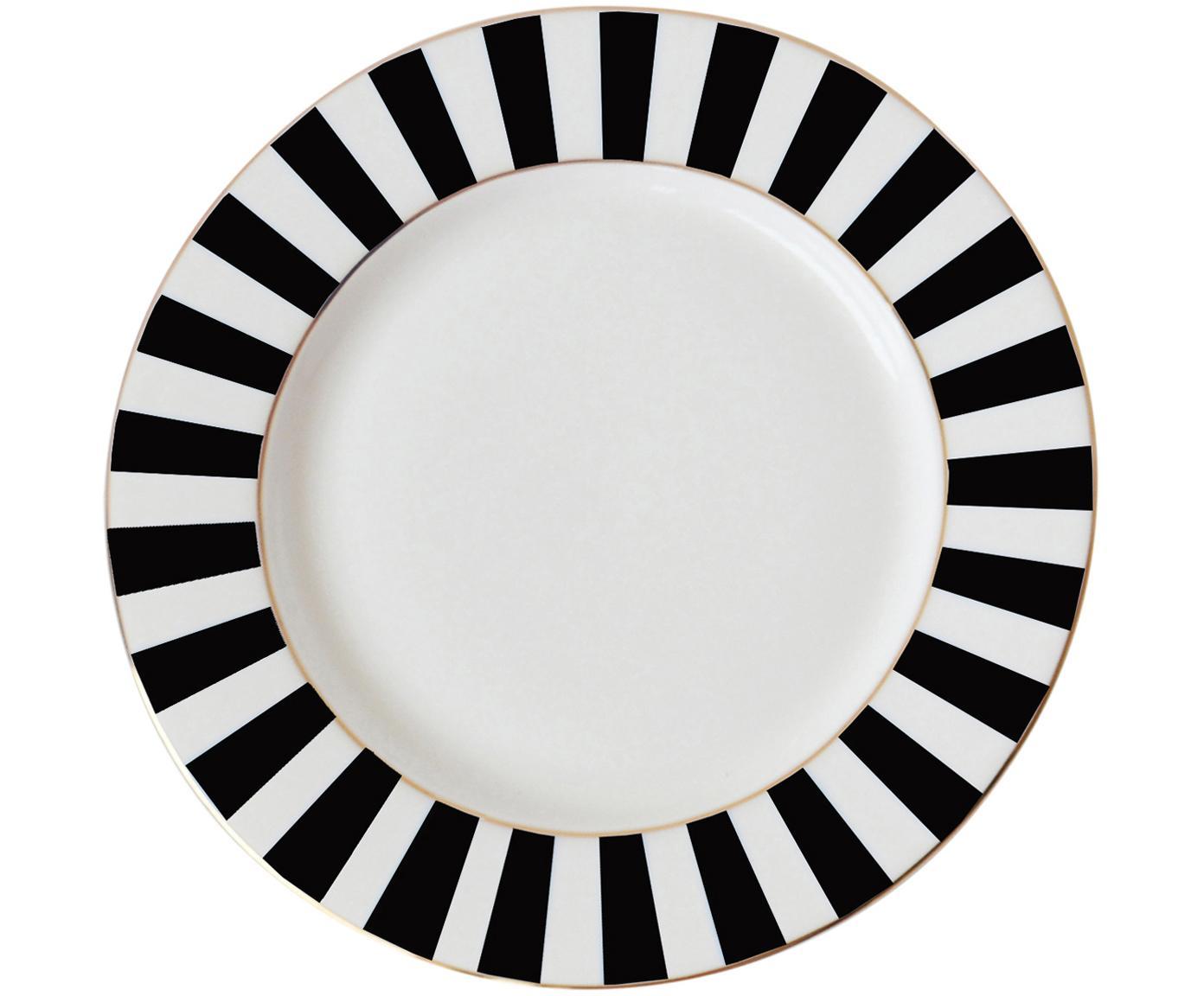 Piatto da colazione con bordo a righe Stripy, Porcellana cinese, Nero, bianco, Ø 19 cm