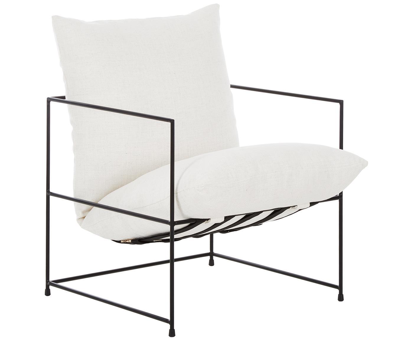 Sedia a poltrona con struttura in metallo Wayne, Rivestimento: 80 % poliestere, 20 % cot, Struttura: metallo verniciato a polv, Tessuto bianco, Larg. 69 x Prof. 74 cm