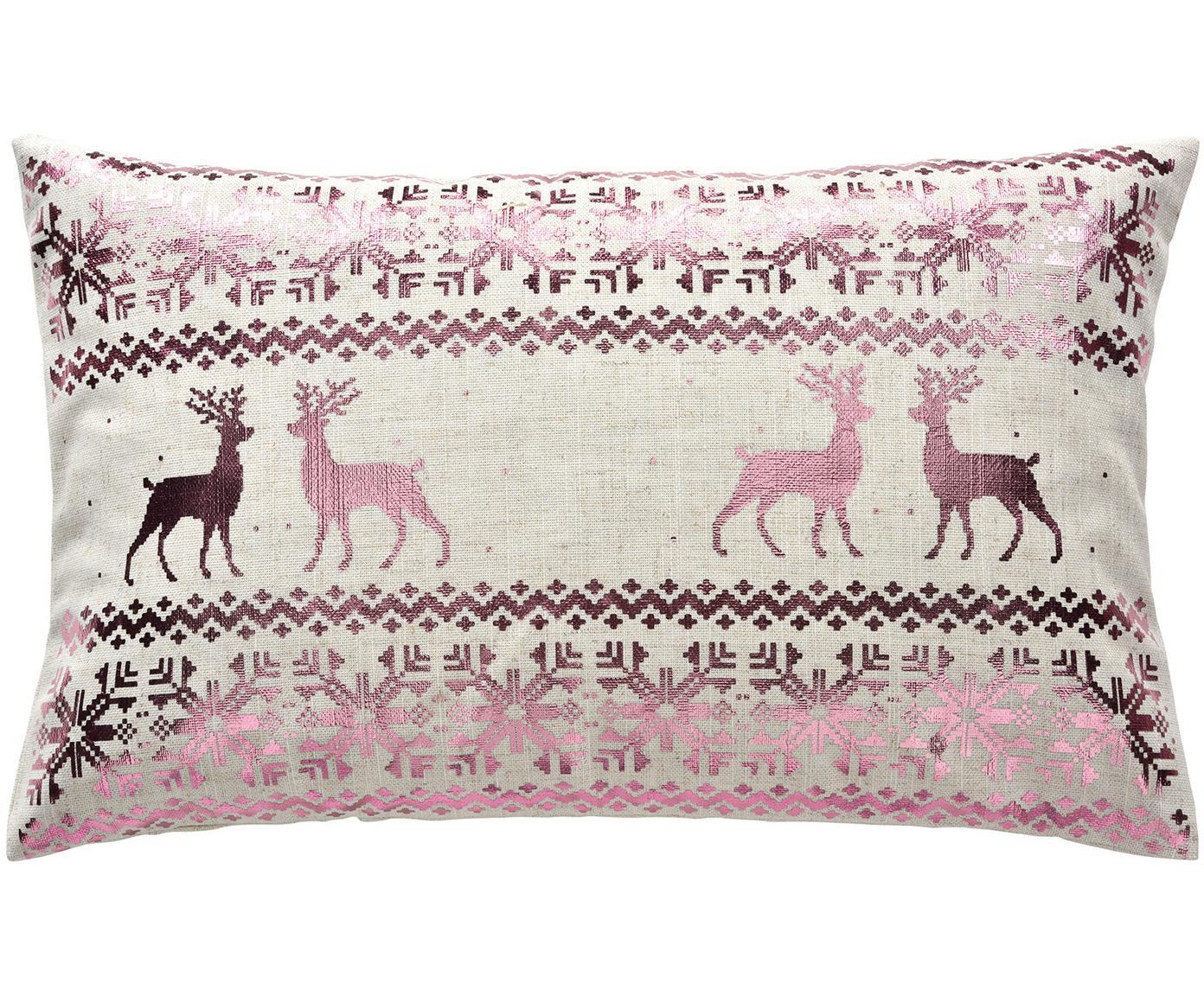 Kussenhoes Lodge met glanzend winterpatroon, 95% polyester, 5% linnen, Roze, beige, 30 x 50 cm
