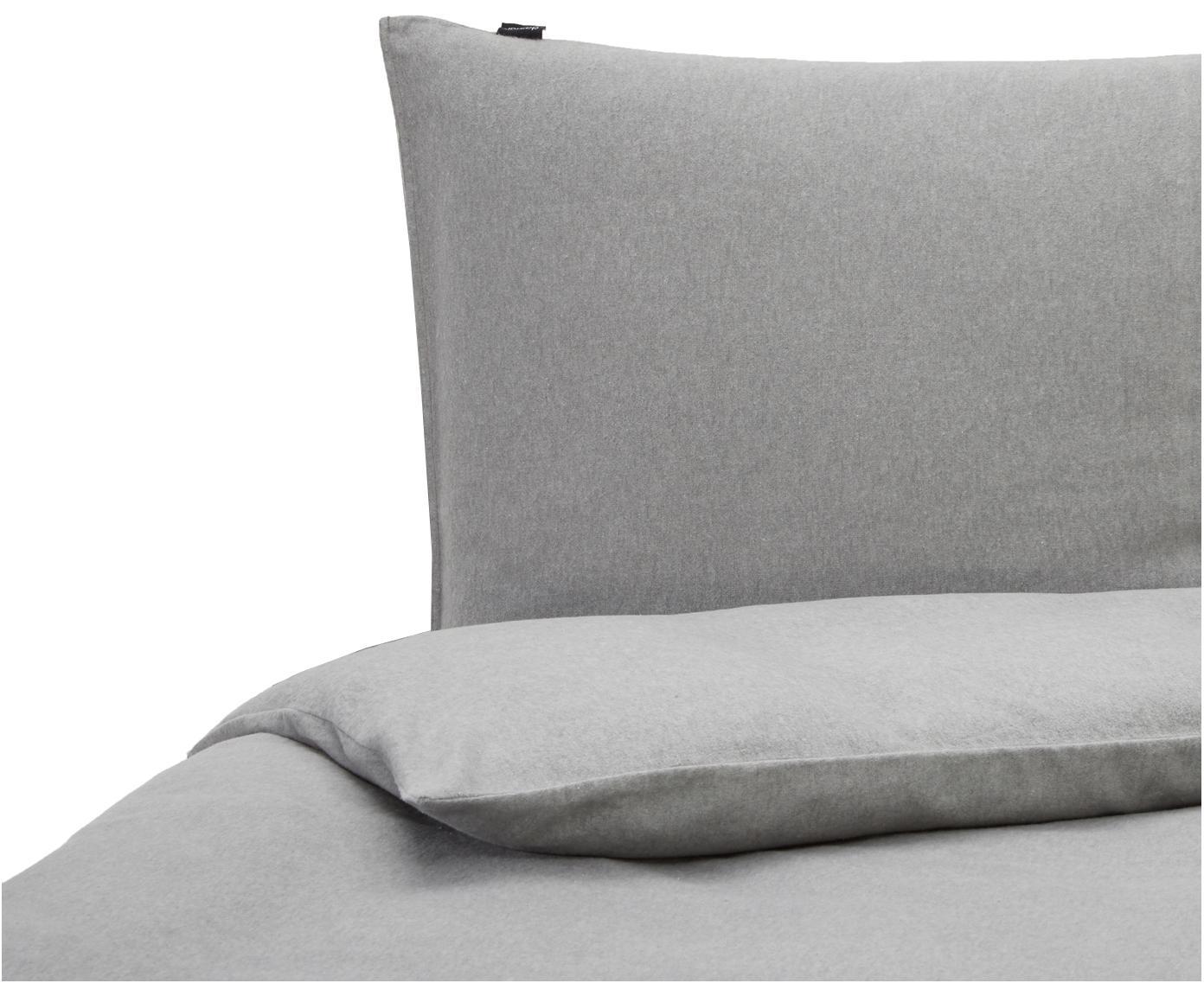 Flanellen dekbedovertrek Groove, Weeftechniek: flanel, Grijs, 140 x 220 cm