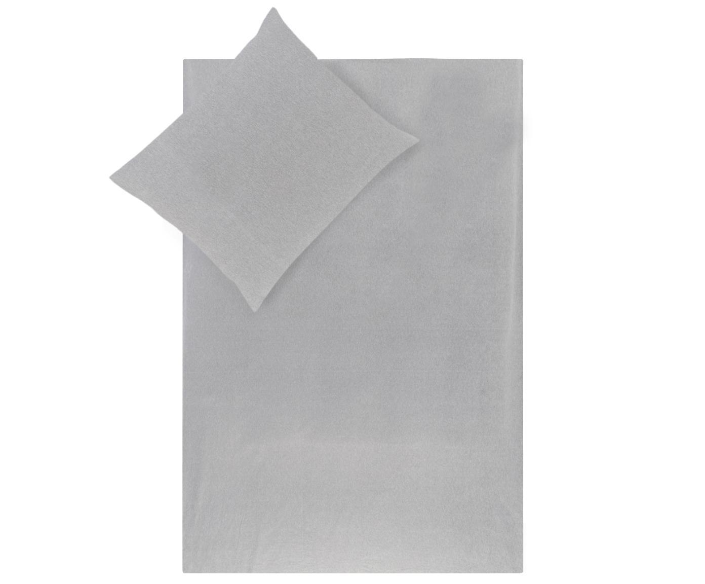 Flanellen dekbedovertrek Groove, Weeftechniek: flanel, Grijs, 240 x 220 cm
