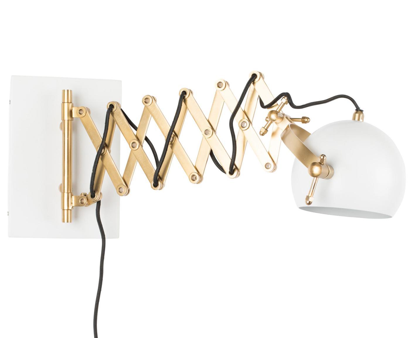 Wandleuchte Sarana, Leuchte: Metall, pulverbeschichtet, Messingfarben, Weiss, B 17 x T 36 bis 64 cm