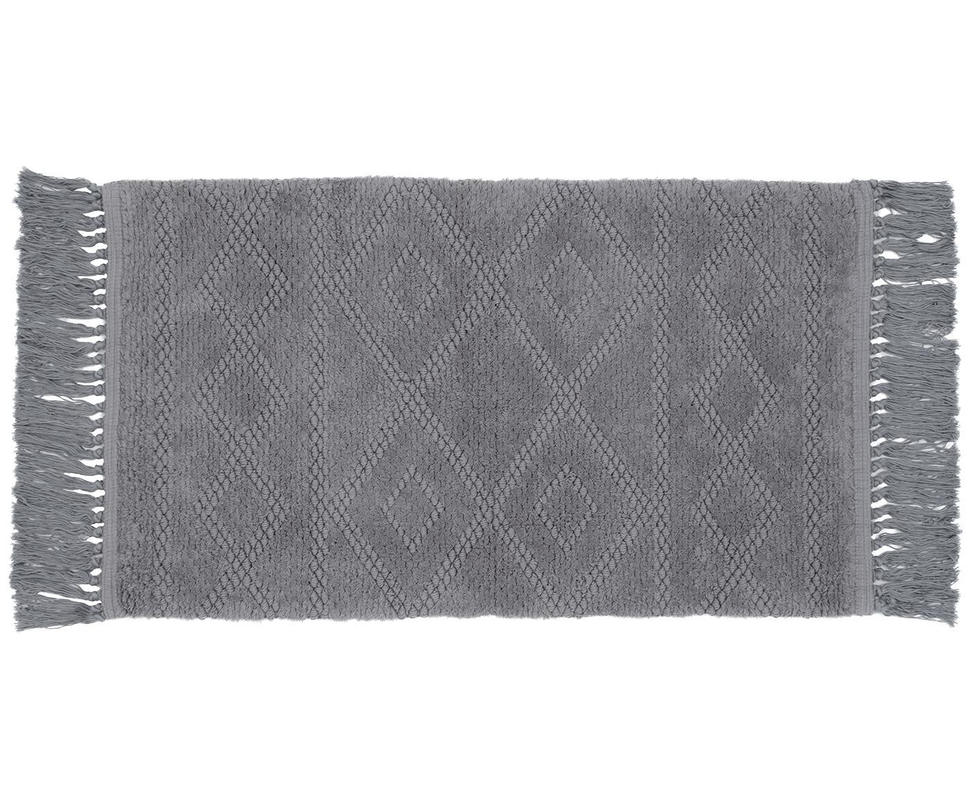 Tappeto bagno boho in cotone Bernadette, Frange: viscosa, Grigio, Larg. 50 x Lung. 80 cm