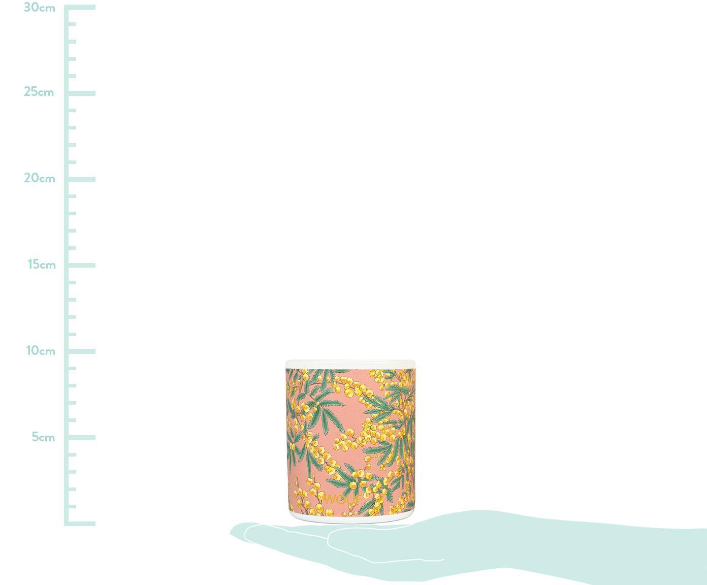 Vegane Duftkerze Mimosa (Mimose), Behälter: Glas, Rosa, Ø 8 x H 10 cm