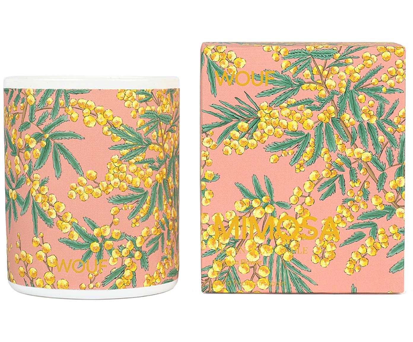Geurkaars Mimosa (mimosa), 100% plantaardige was, Roze, Ø 8 x H 10 cm