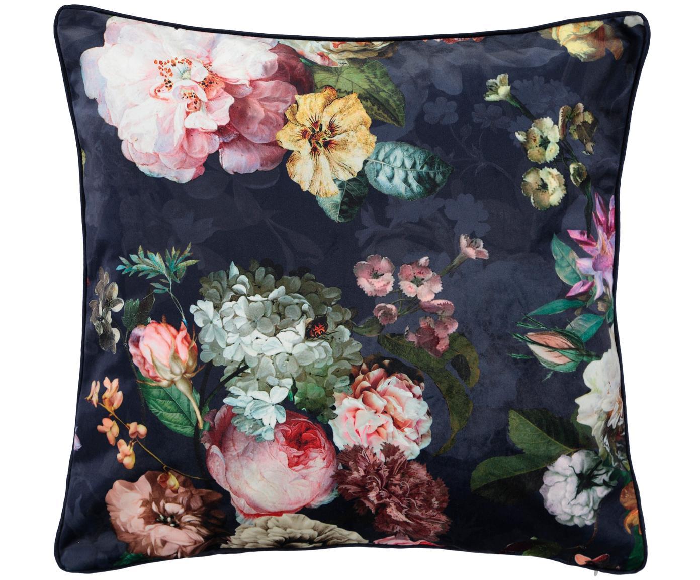 Poduszka z aksamitu z wypełnieniem Fleur, Tapicerka: 100% aksamit poliestrowy, Ciemny niebieski, wielobarwny, S 50 x D 50 cm
