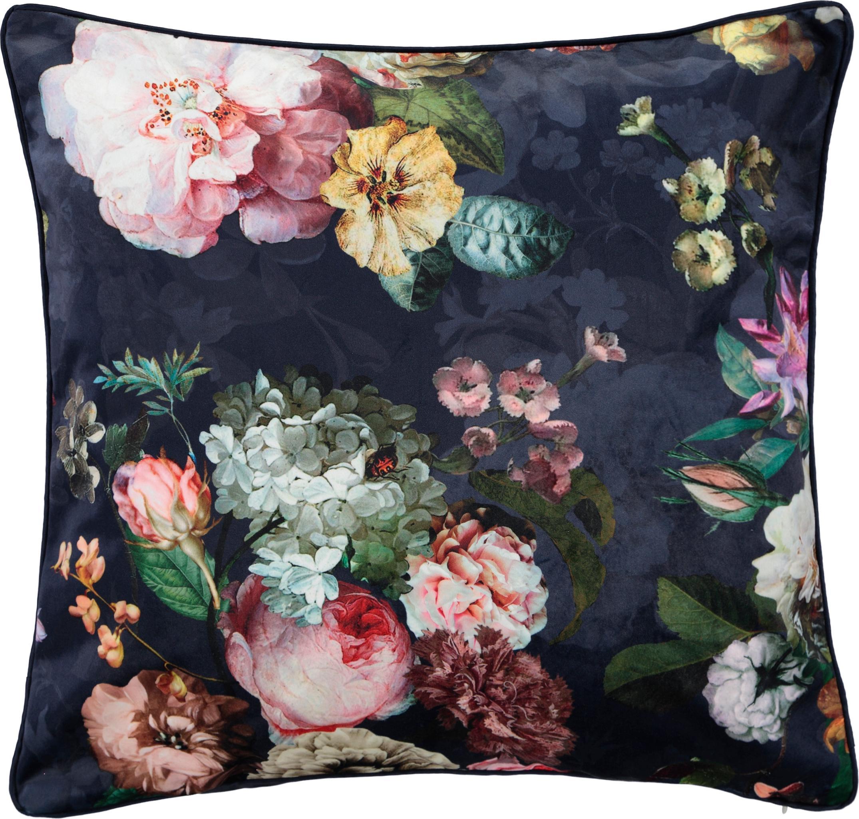 Fluwelen kussen Fleur met bloemmotief, met vulling, Bekleding: 100% polyester fluweel, Donkerblauw, multicolour, 50 x 50 cm