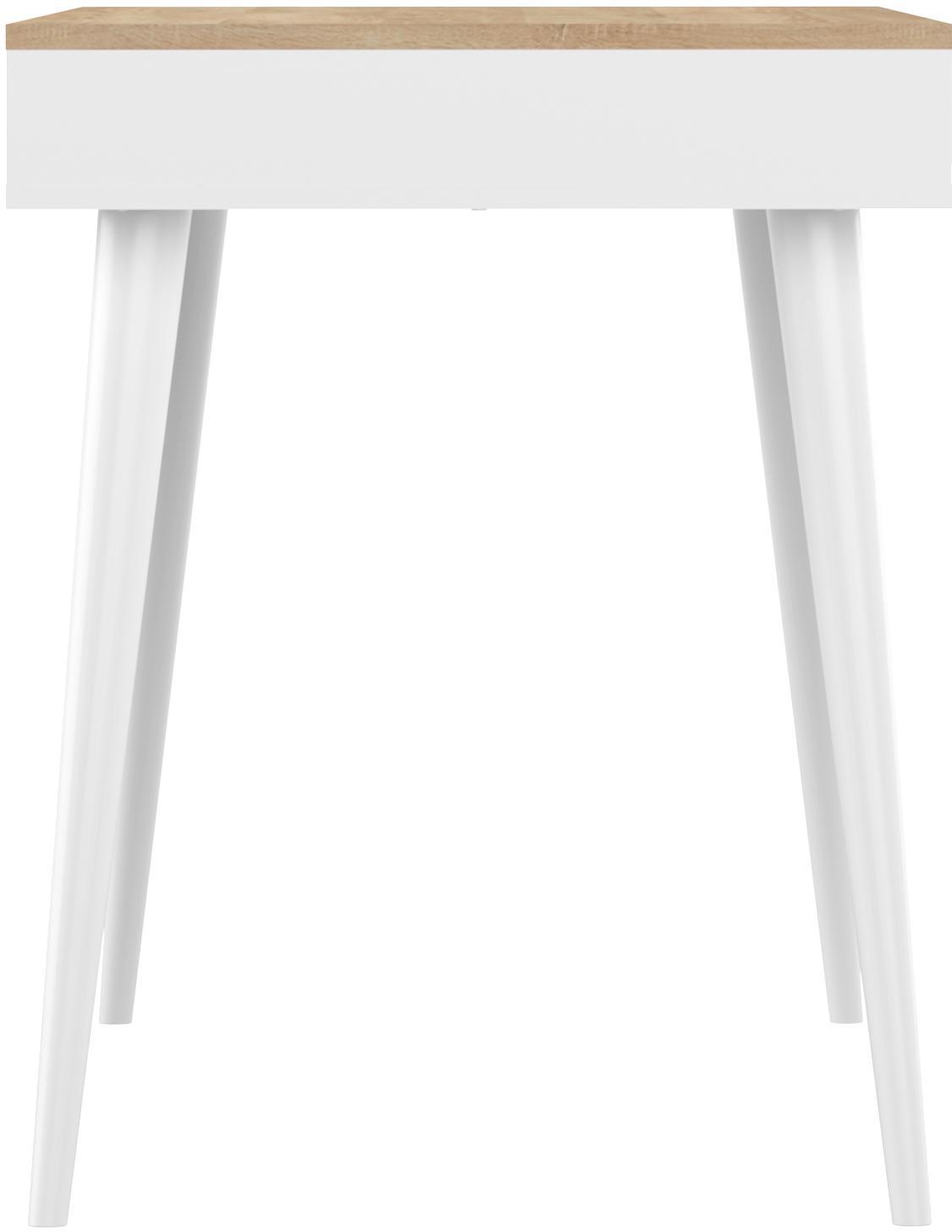 Schreibtisch Horizon im Skandi Design, Tischplatte: Spanplatte, melaminbeschi, Korpus: Spanplatte, lackiert, Beine: Buchenholz, massiv, lacki, Griffe: Kuhleder, Eichenholz, Weiß, B 134 x T 59 cm