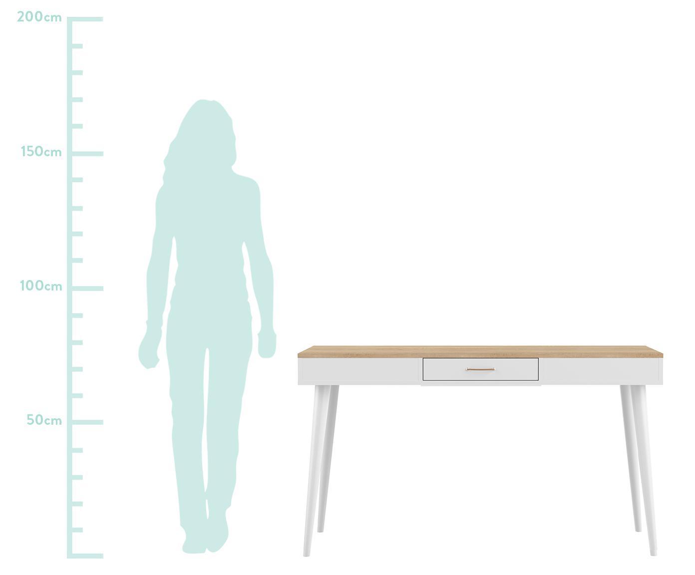 Bureau Horizon, Tafelblad: melamine gecoate spaanpla, Frame: gelakte spaanplaat, Poten: massief gelakt beukenhout, Eikenhoutkleurig, wit, B 134 x D 59 cm