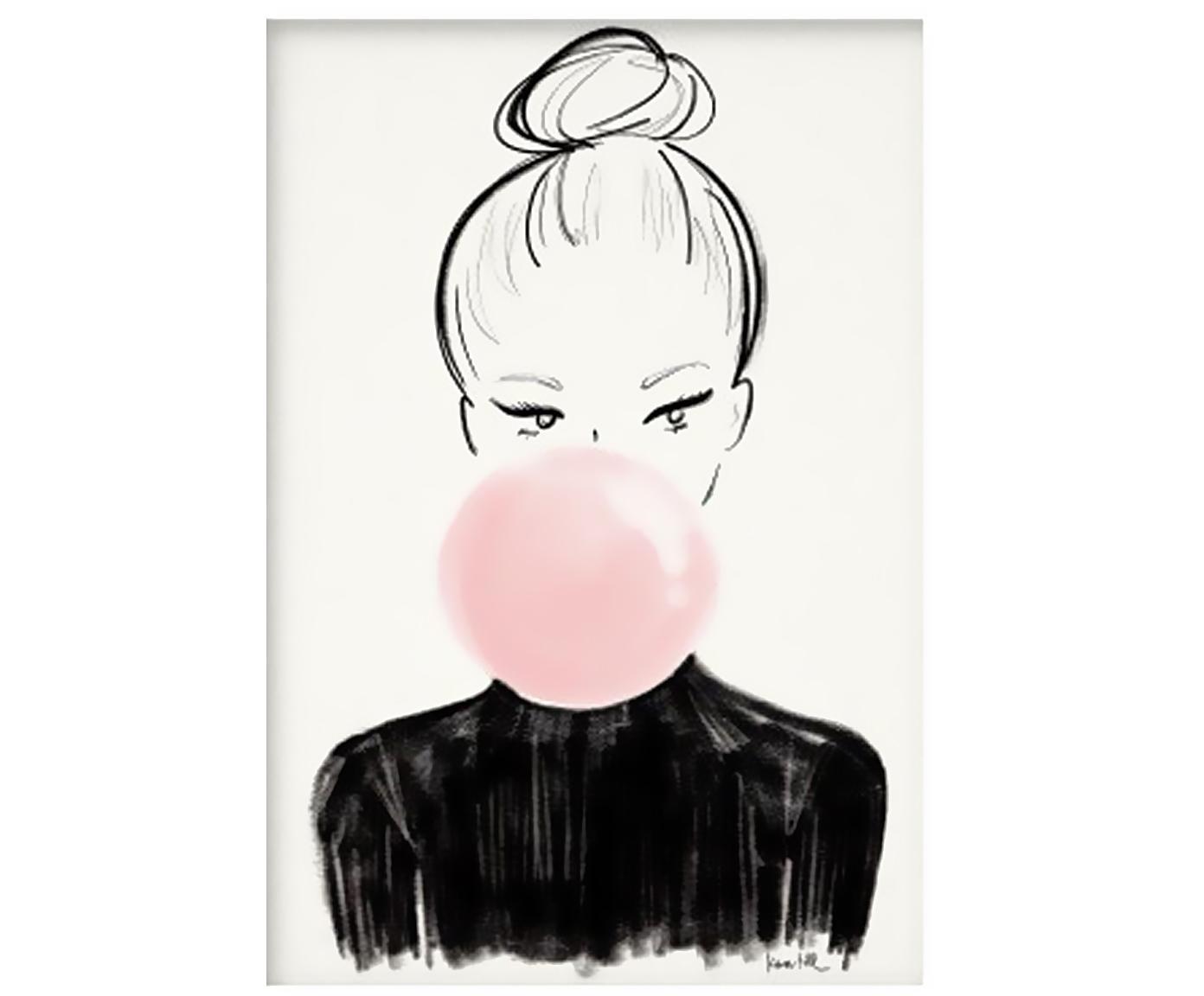 Póster Bulle, Papel, Blanco, negro, rosa, An 30 x Al 42 cm