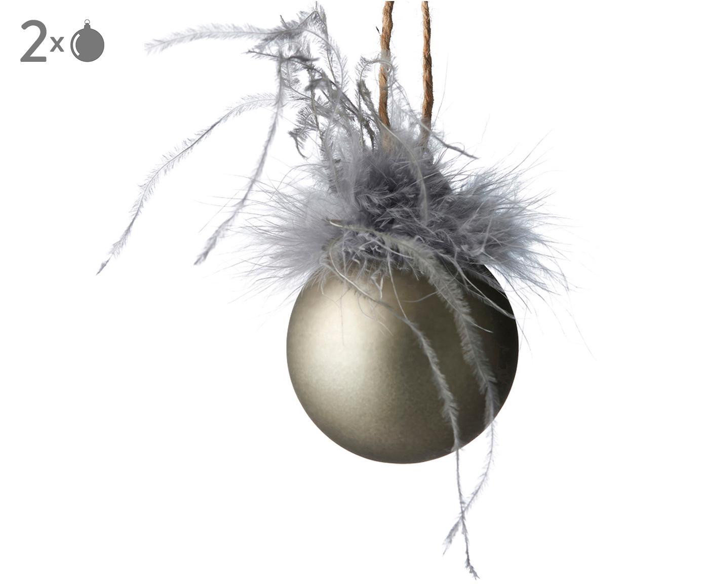 Kerstballen Fethia, 2 stuks, Decoratie: kunstveren, Champagnekleurig, Ø 6 x H 8 cm
