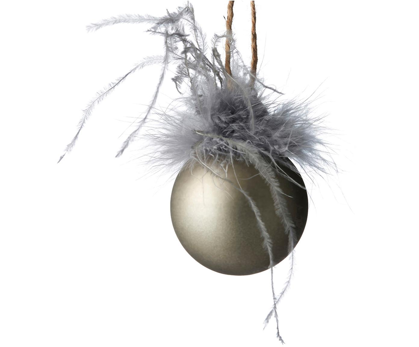 Weihnachtskugeln Fethia, 2 Stück, Dekor: Kunstfedern, Champagnerfarben, Ø 6 x H 8 cm