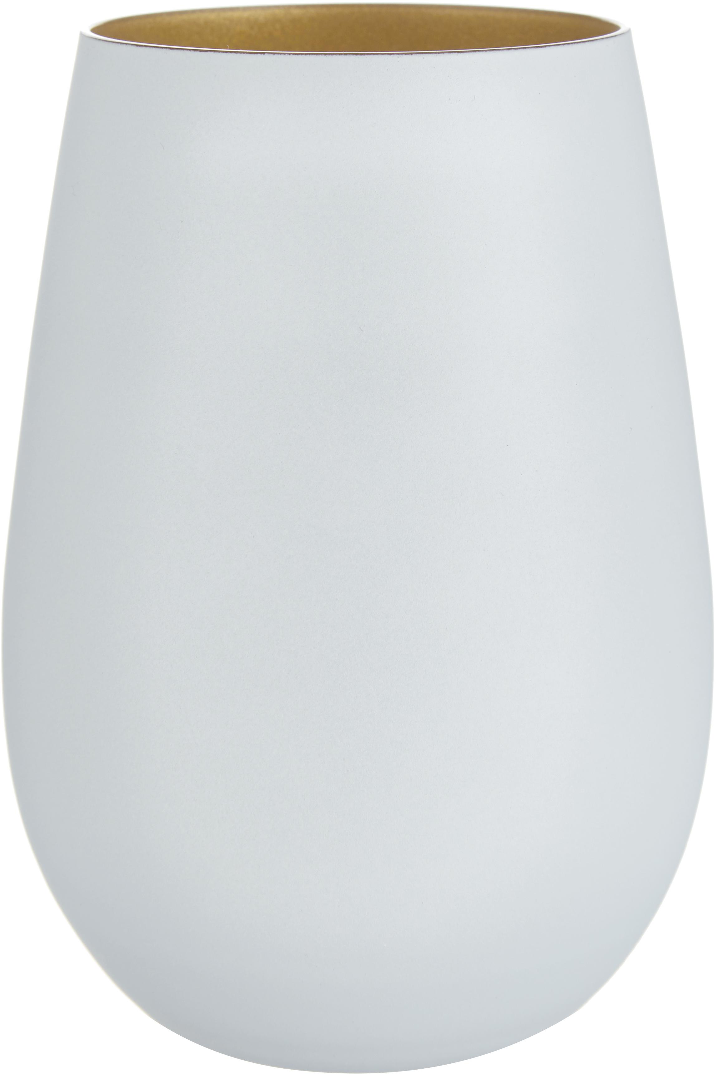 Kryształowa szklanka do koktajli Elements, 6 szt., Szkło kryształowe, powlekany, Biały, odcienie mosiądzu, Ø 9 x W 12 cm