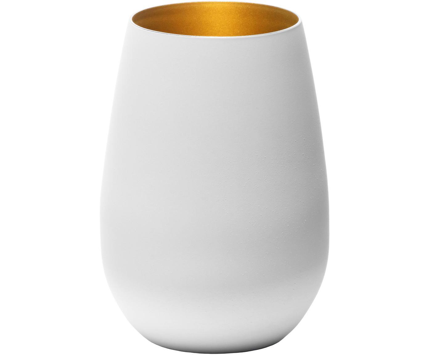 Kristallen longdrinkglazen Elements in wit/goudkleur, 6 stuks, Kristalglas, gecoat, Wit, messingkleurig, Ø 9 x H 12 cm