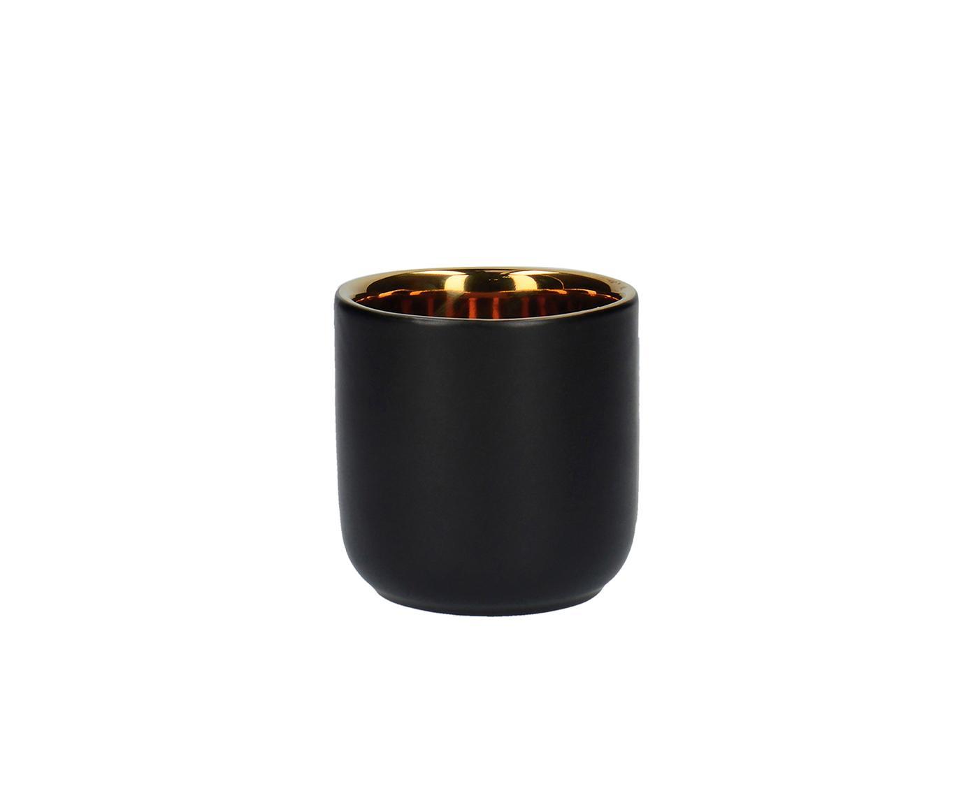 Espressobecher La Cafetiere, 2 Stück, Steingut, Schwarz, Messingfarben, Ø 8 x H 8 cm
