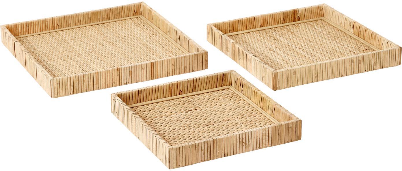 Set de bandejas de ratán Fuji, 3pzas., Ratán, madera contrachapada, Ratán, Set de diferentes tamaños