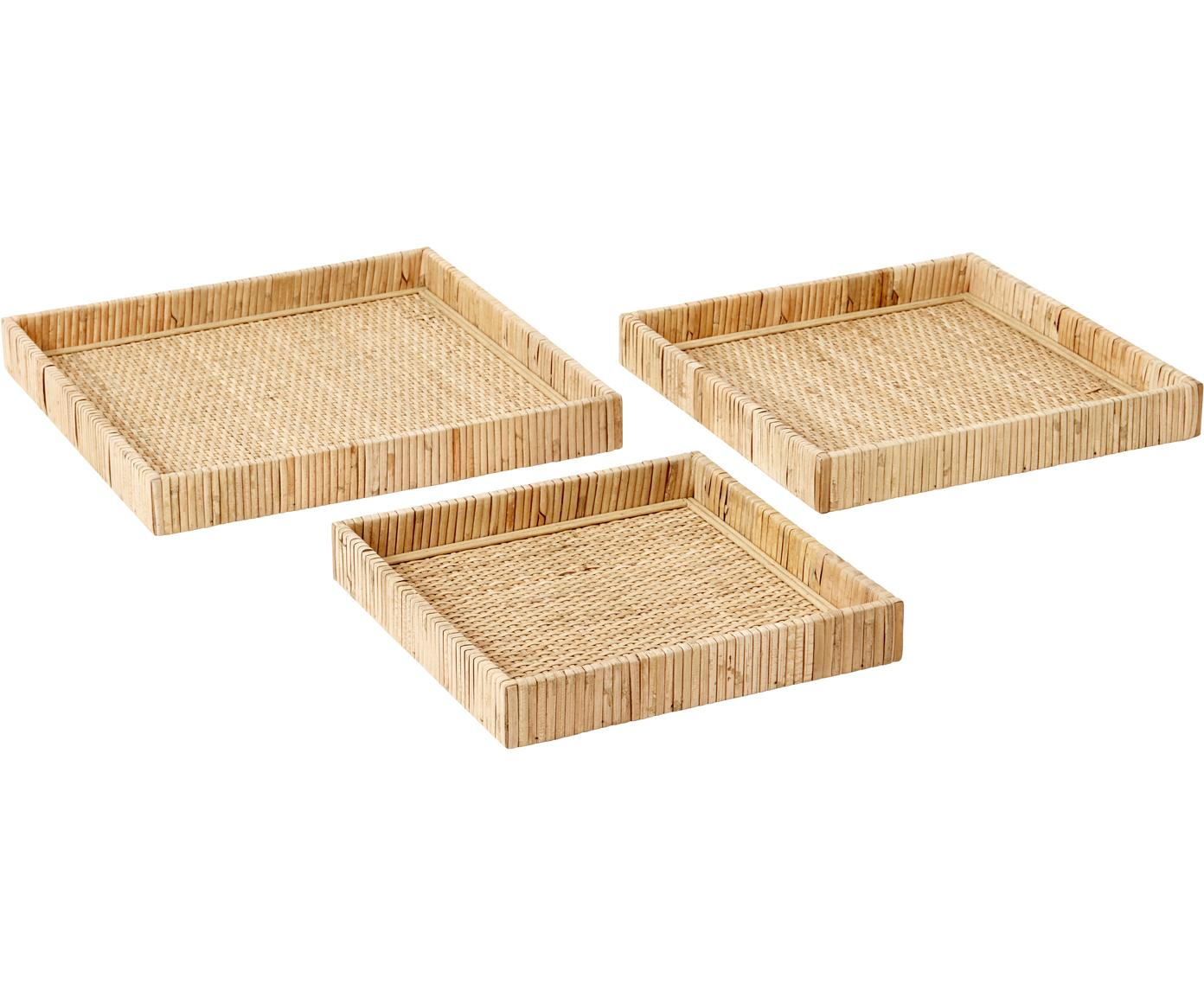 Set de bandejas de ratán Fuji, 3pzas., Ratán, madera contrachapada, Ratán, Tamaños diferentes