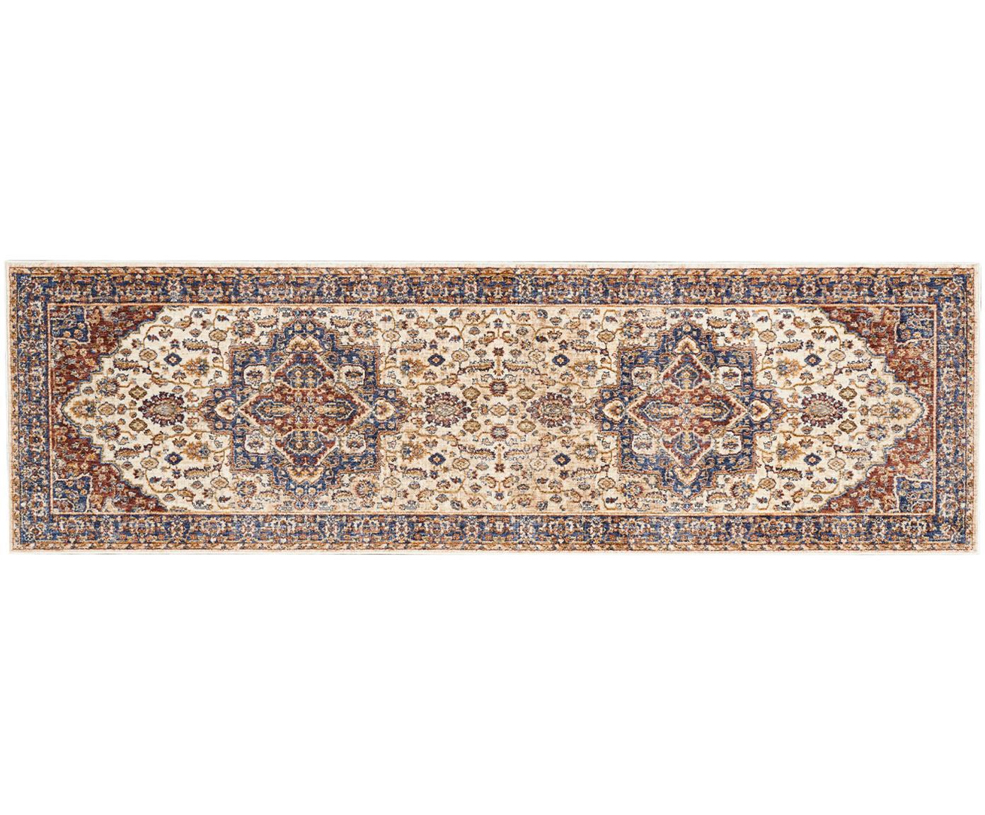 Passatoia vintage a pelo corto Lagos, Retro: lattice, Crema, rosso, blu scuro, Larg. 70 x Lung. 230 cm