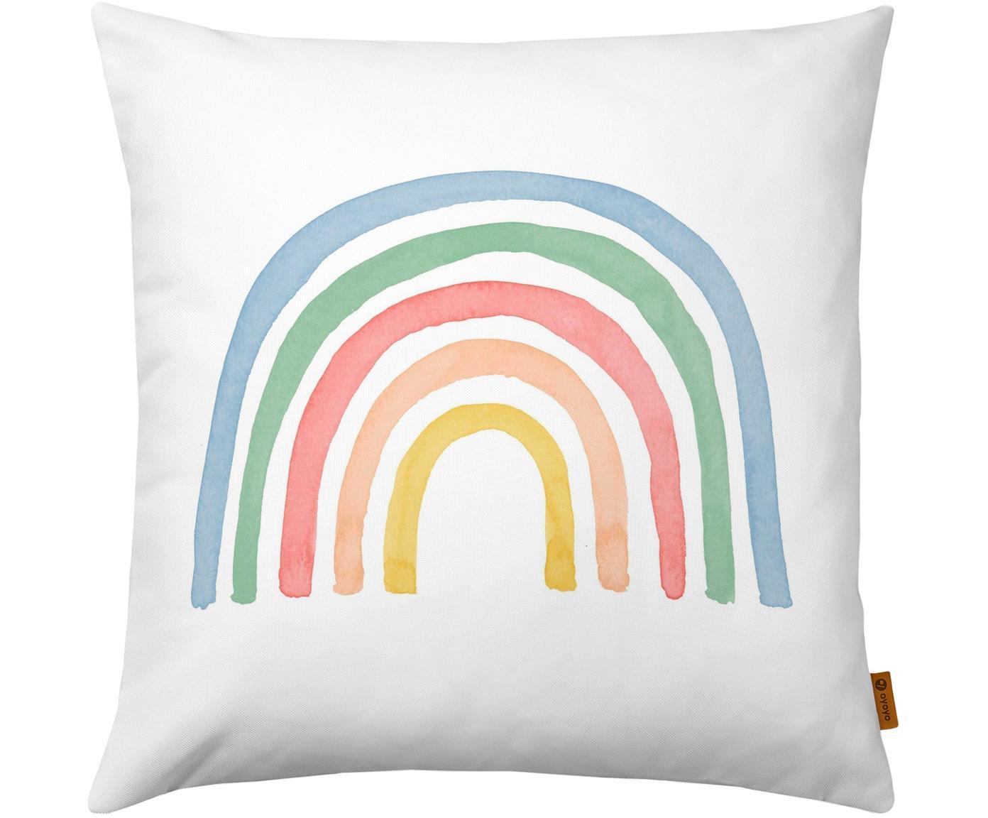 Federa con arcobaleno Rainbow, Cotone, Bianco, multicolore, Larg. 40 x Lung. 40 cm
