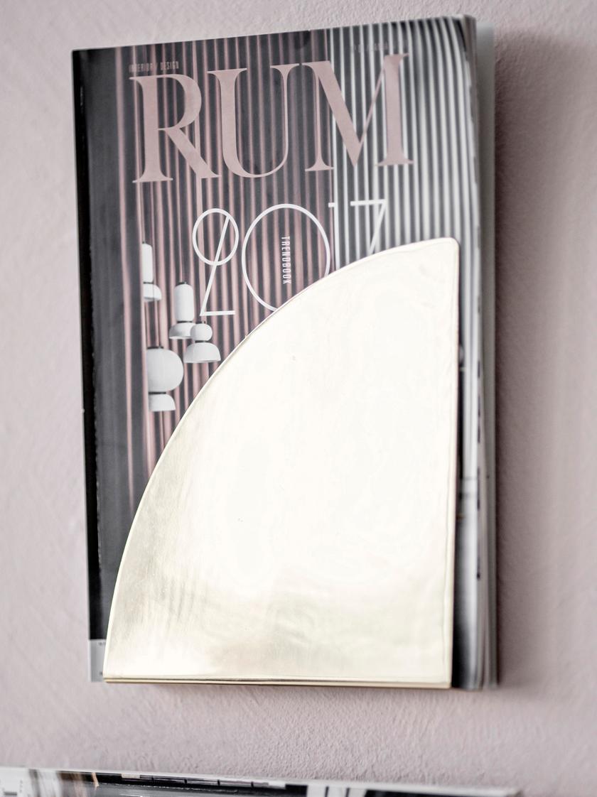 Wand-Zeitschriftenhalter Archibald, Rostfreier Stahl, Goldfarben, 20 x 20 cm