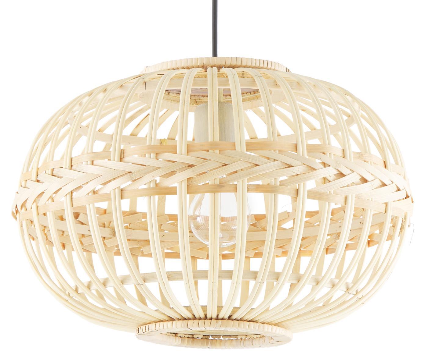 Hanglamp Adam van bamboehout, Baldakijn: gepoedercoat metaal, Lampenkap: bamboe, multiplex, Beige, Ø 38 x H 27 cm