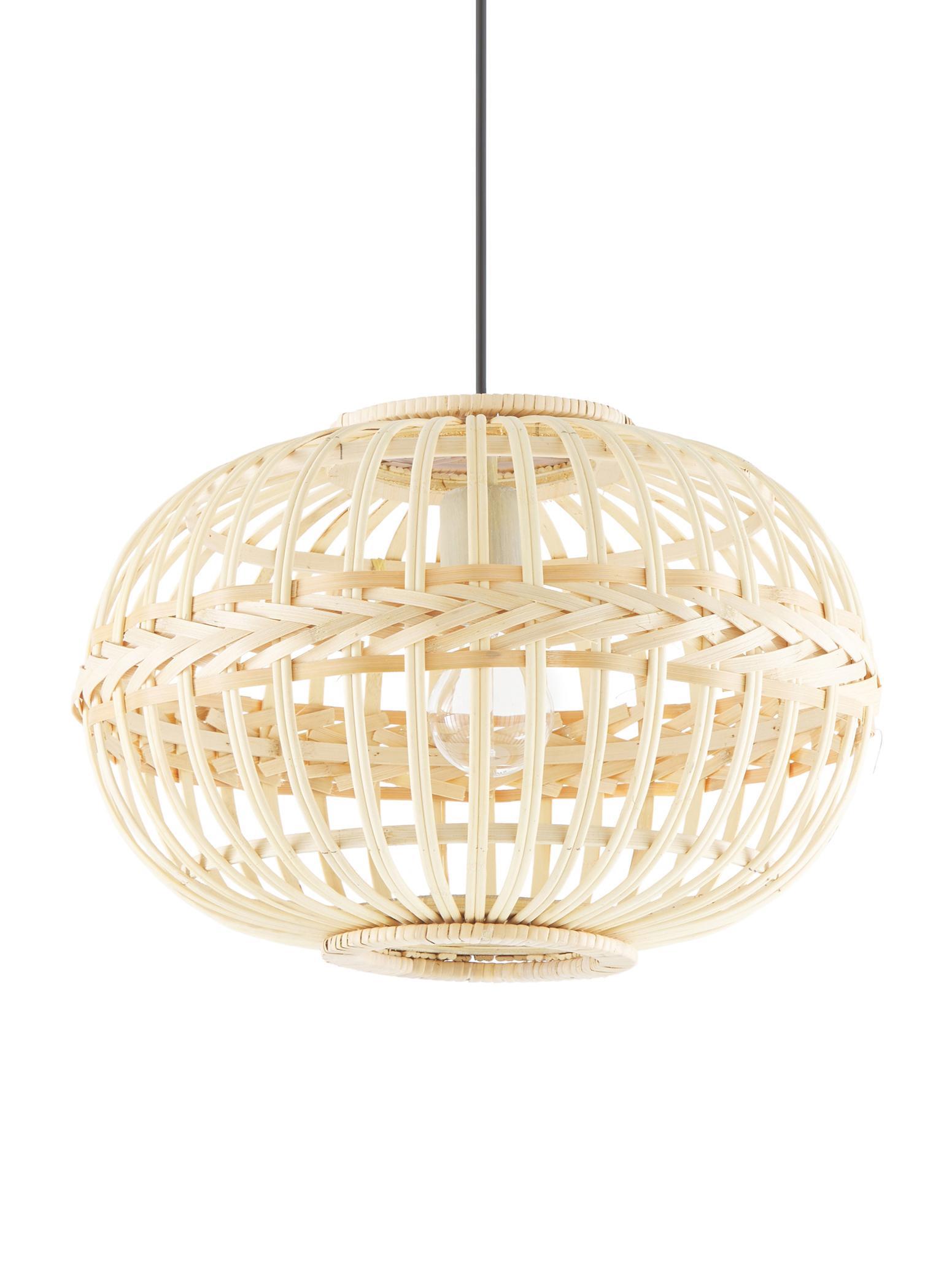 Lámpara de techo Adam, Anclaje: metal, con pintura en pol, Pantalla: bambú, madera contrachapa, Cable: plástico El bambú es una , Beige, Ø 38 x Al 27 cm