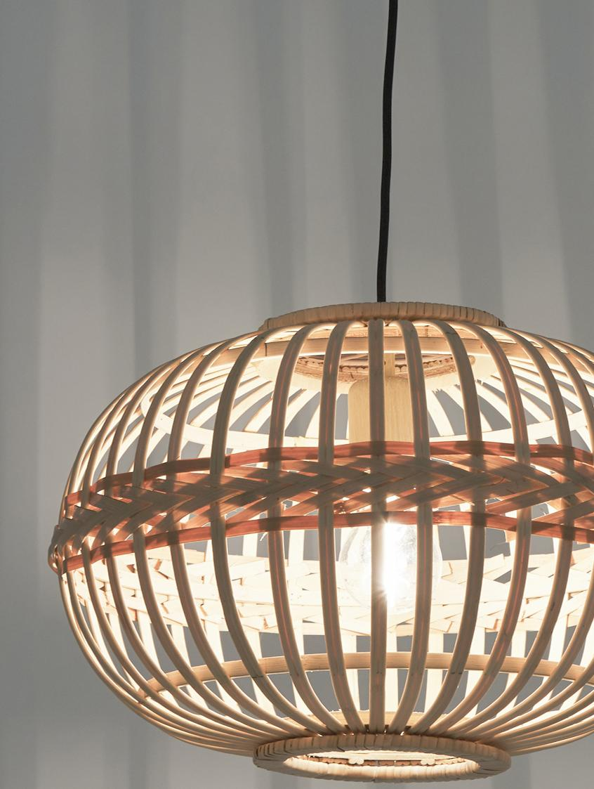 Pendelleuchte Adam aus Bambus, Baldachin: Metall, pulverbeschichtet, Lampenschirm: Bambus, Sperrholz, Beige, Ø 38 x H 27 cm