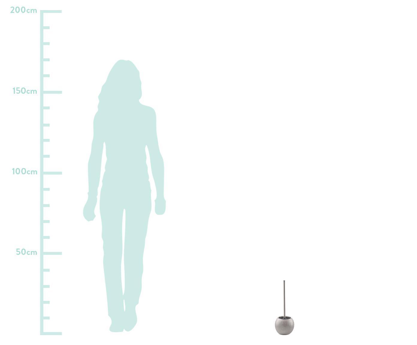 Toilettenbürste Glitter aus Steingut, Behälter: Steingut, Griff: Metall, Silberfarben, Ø 12 x H 34 cm