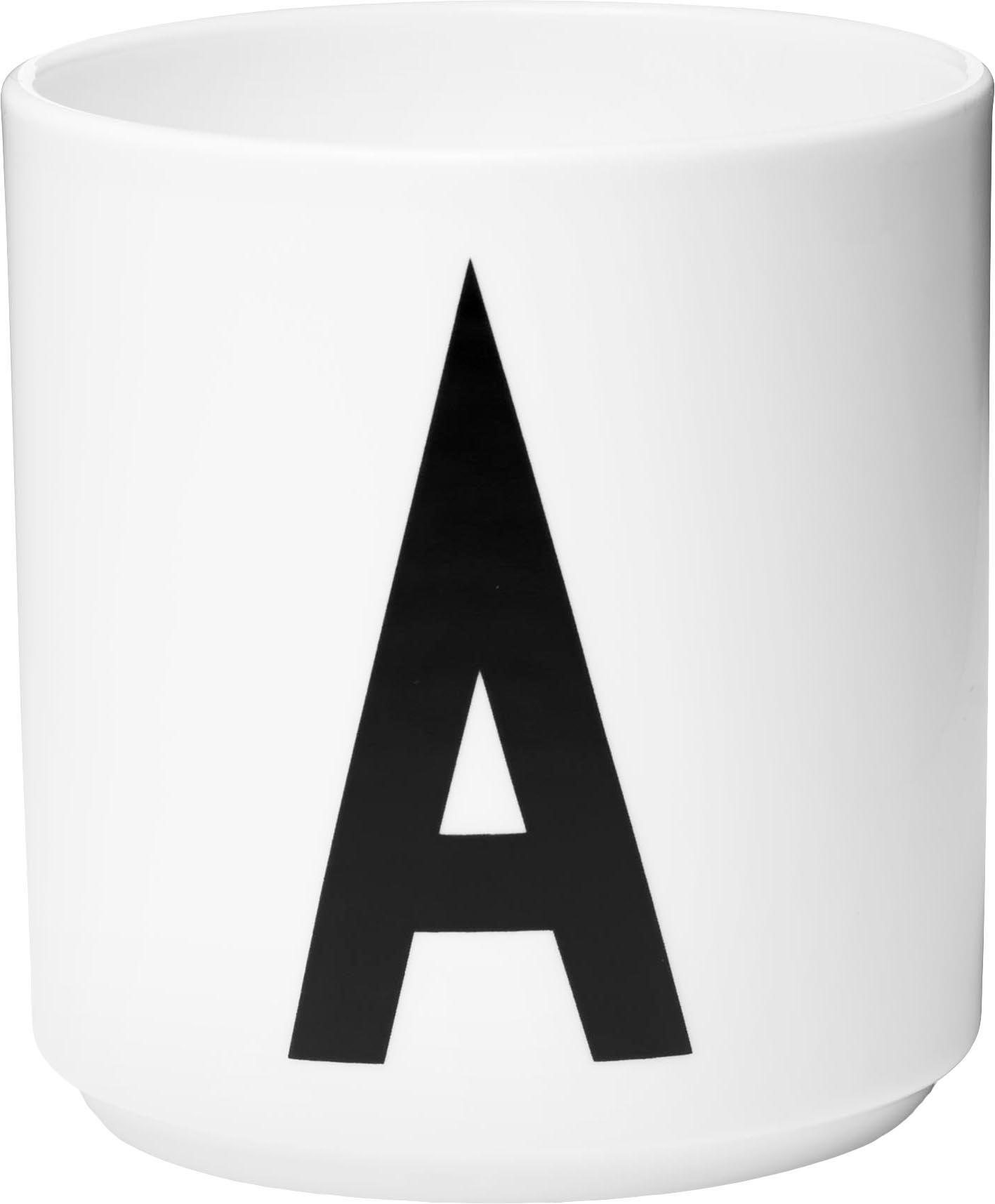 Design Becher Personal mit Buchstaben (Varianten von A bis Z), Fine Bone China (Porzellan), Weiss, Schwarz, Becher A