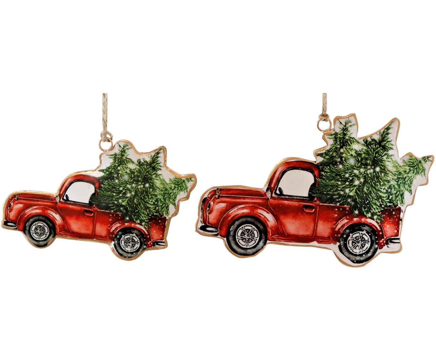 Baumanhänger-Set Cars, 2-tlg., Metall, Rot, Grün, Verschiedene Grössen